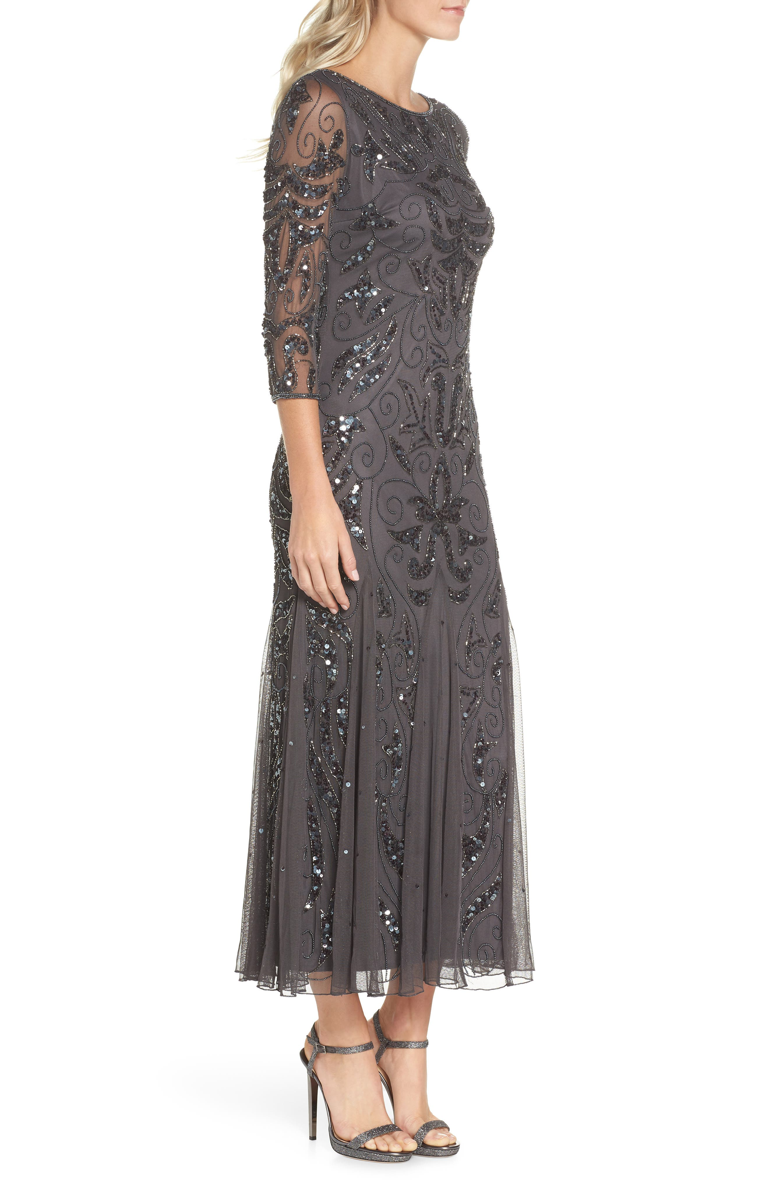 PISARRO NIGHTS, Embellished Mesh Gown, Alternate thumbnail 4, color, NEW ASH