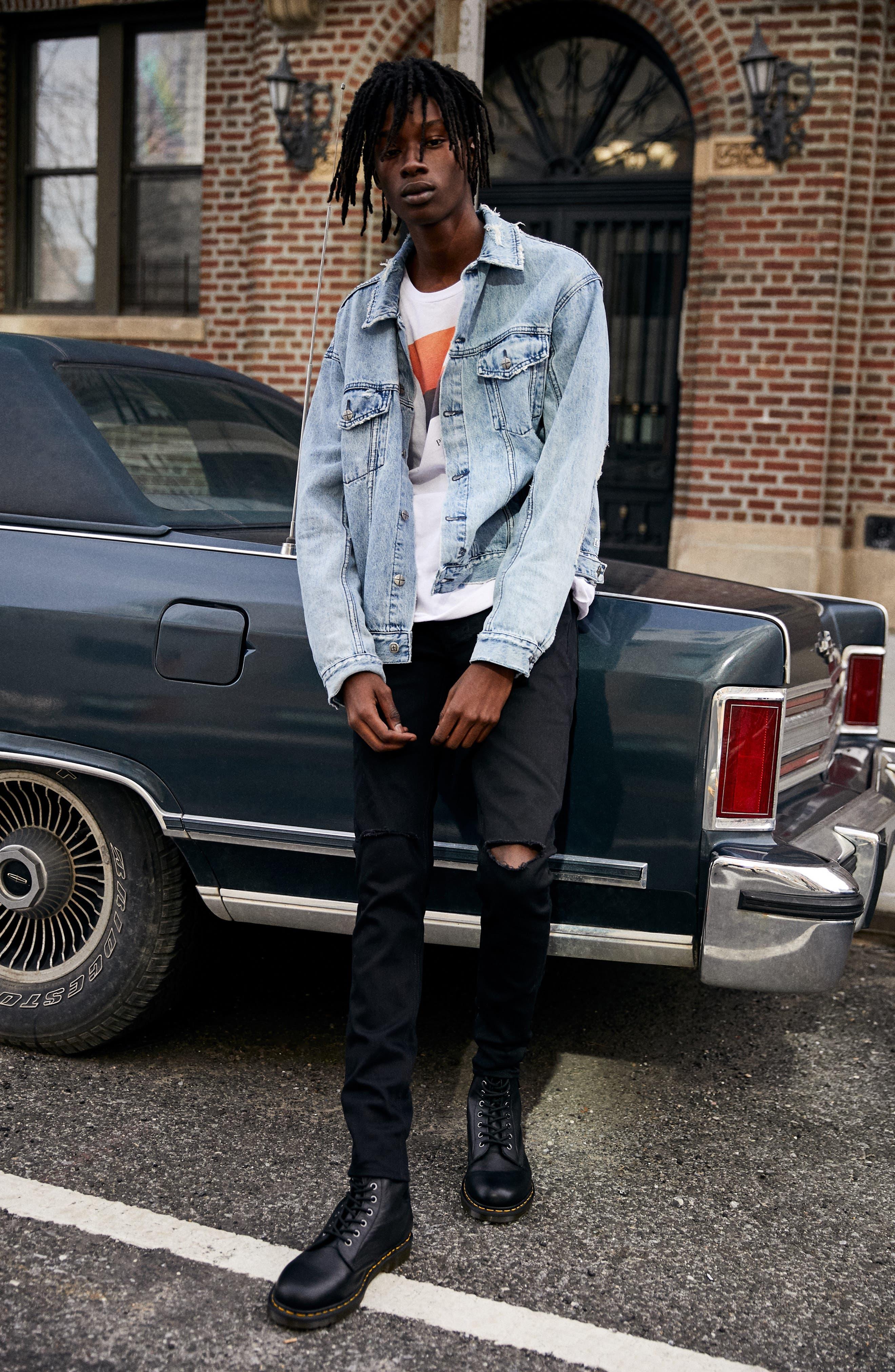 KSUBI, Van Winkle Ace Slice Jeans, Alternate thumbnail 7, color, BLACK