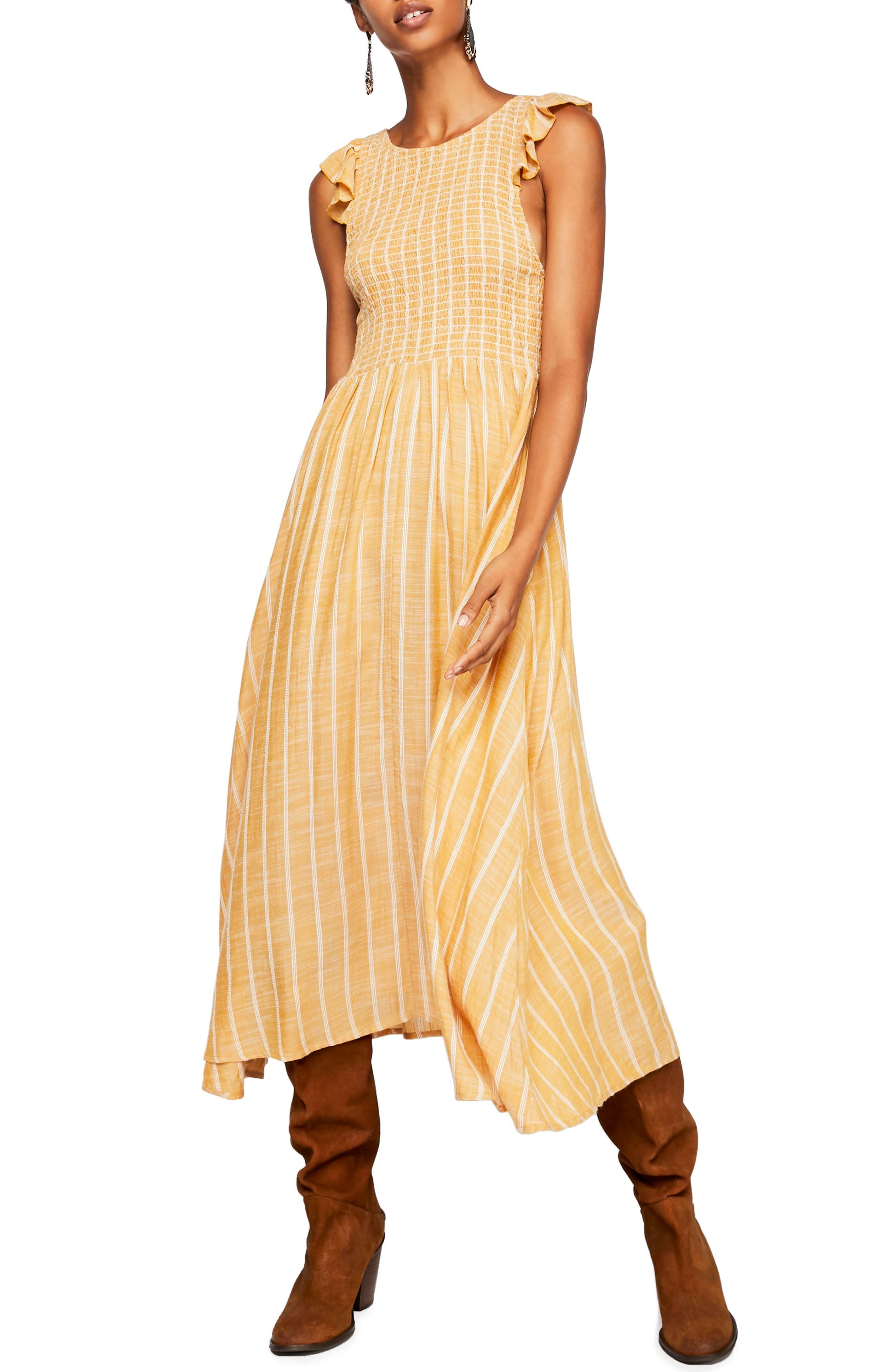 FREE PEOPLE, Butterflies Chambray Midi Dress, Main thumbnail 1, color, GOLD