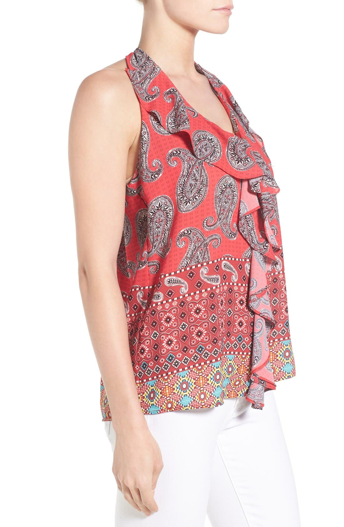 KUT FROM THE KLOTH, 'Emma' Sleeveless Ruffle Front Top, Alternate thumbnail 5, color, 603
