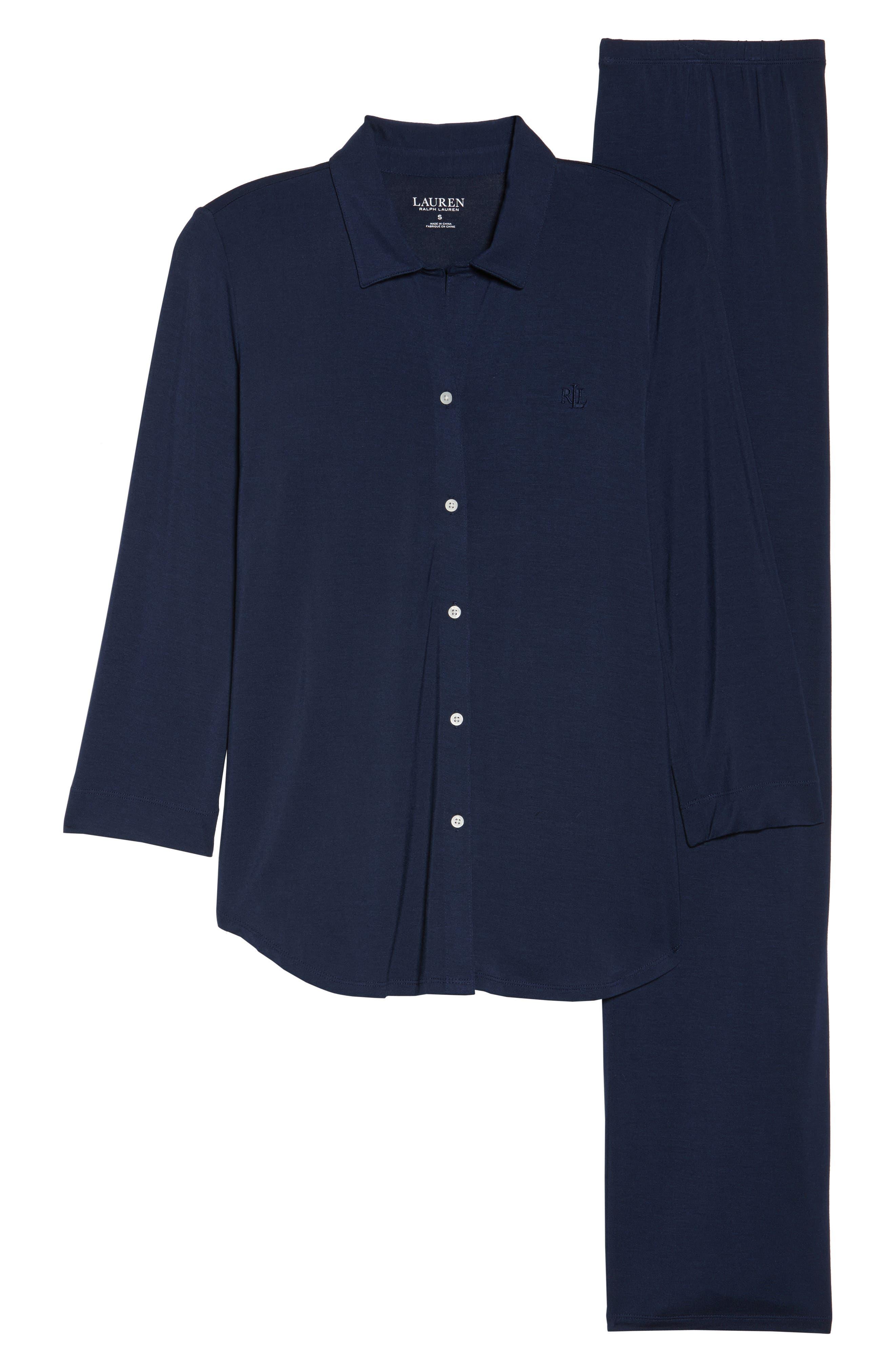 LAUREN RALPH LAUREN, Jersey Pajamas, Alternate thumbnail 6, color, SPRING NAVY