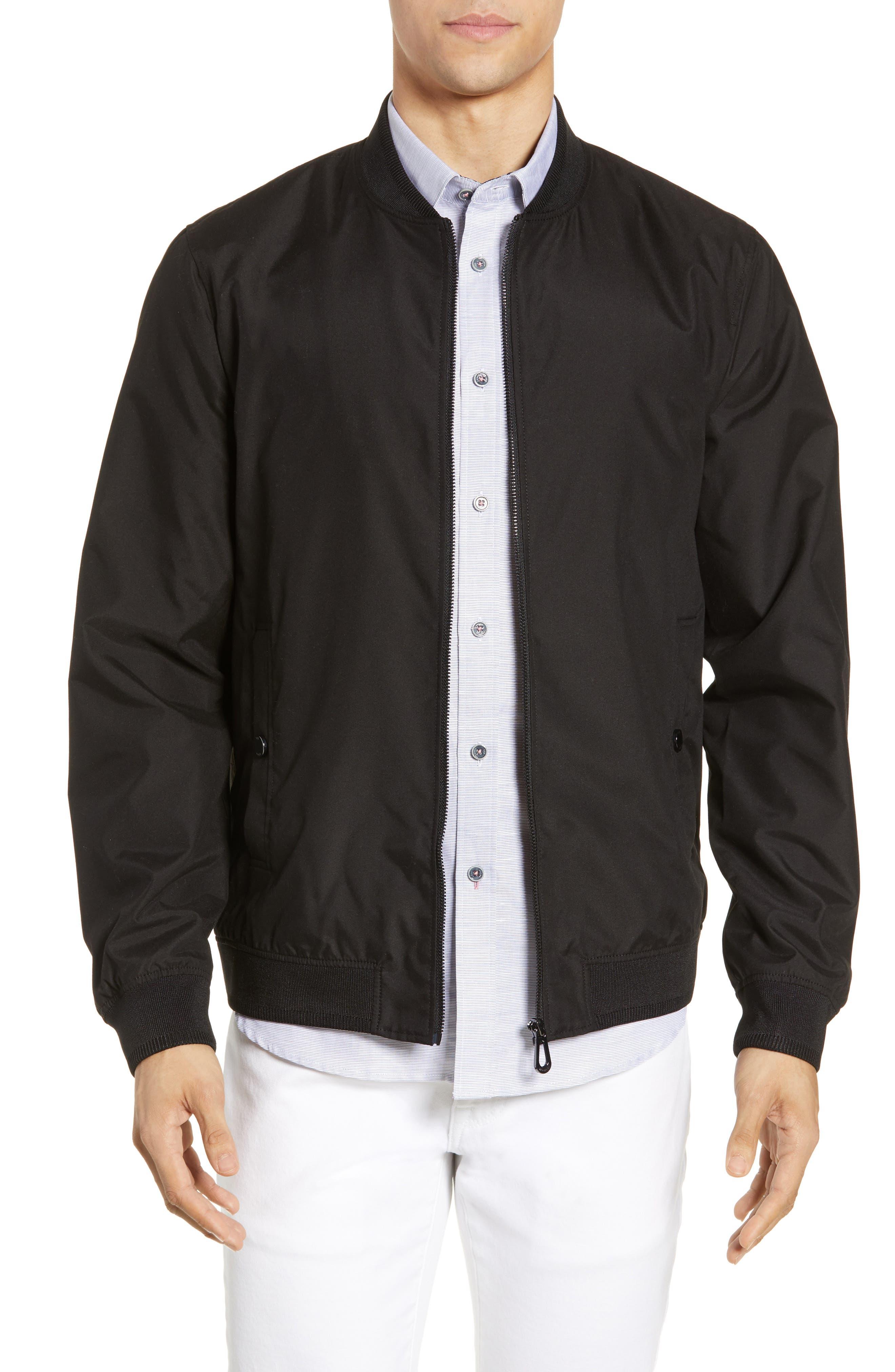 TED BAKER LONDON Len Slim Fit Bomber Jacket, Main, color, BLACK