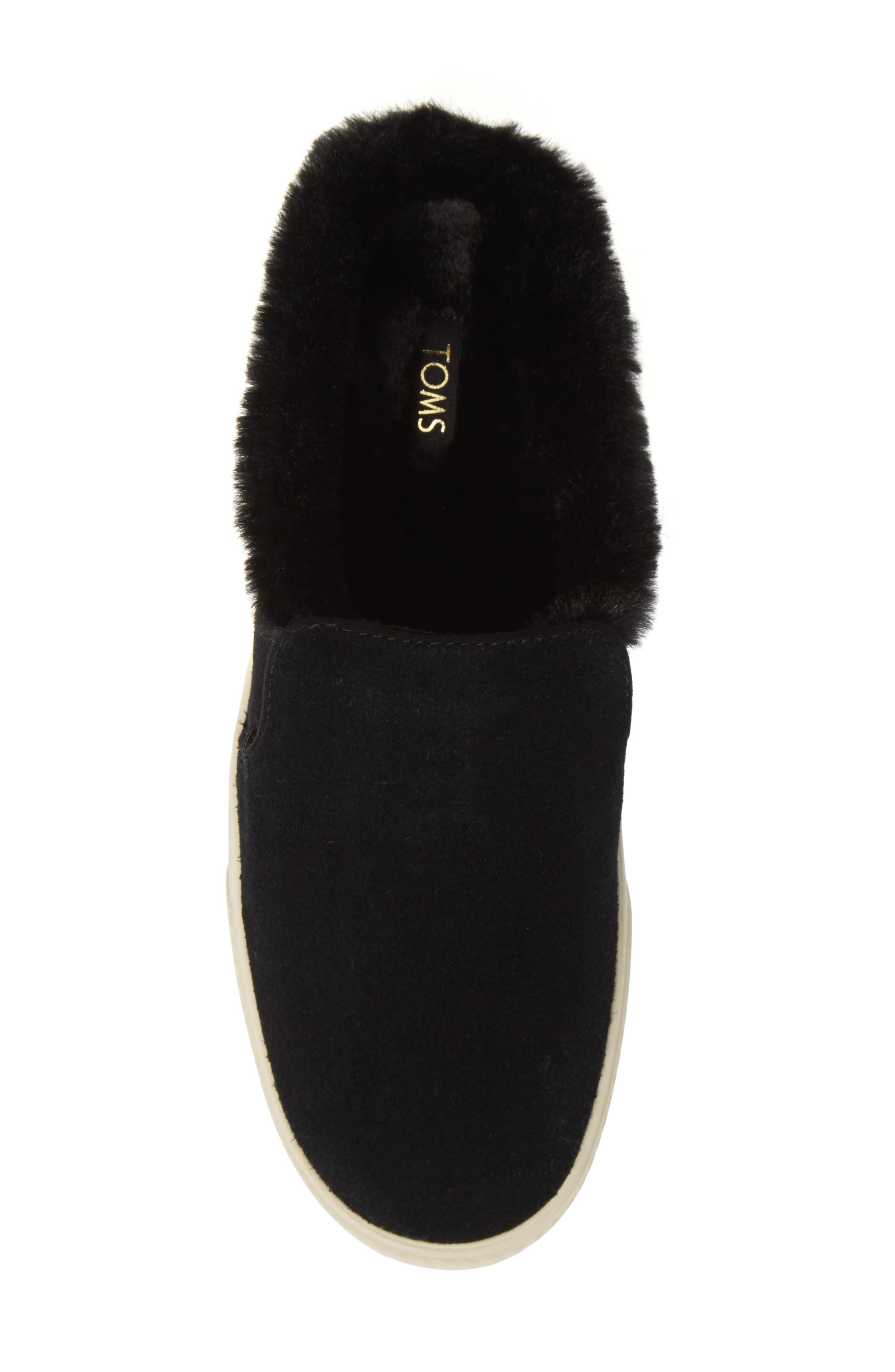 TOMS, Sunrise Faux Fur Lined Slip-On Sneaker, Alternate thumbnail 5, color, BLACK SUEDE