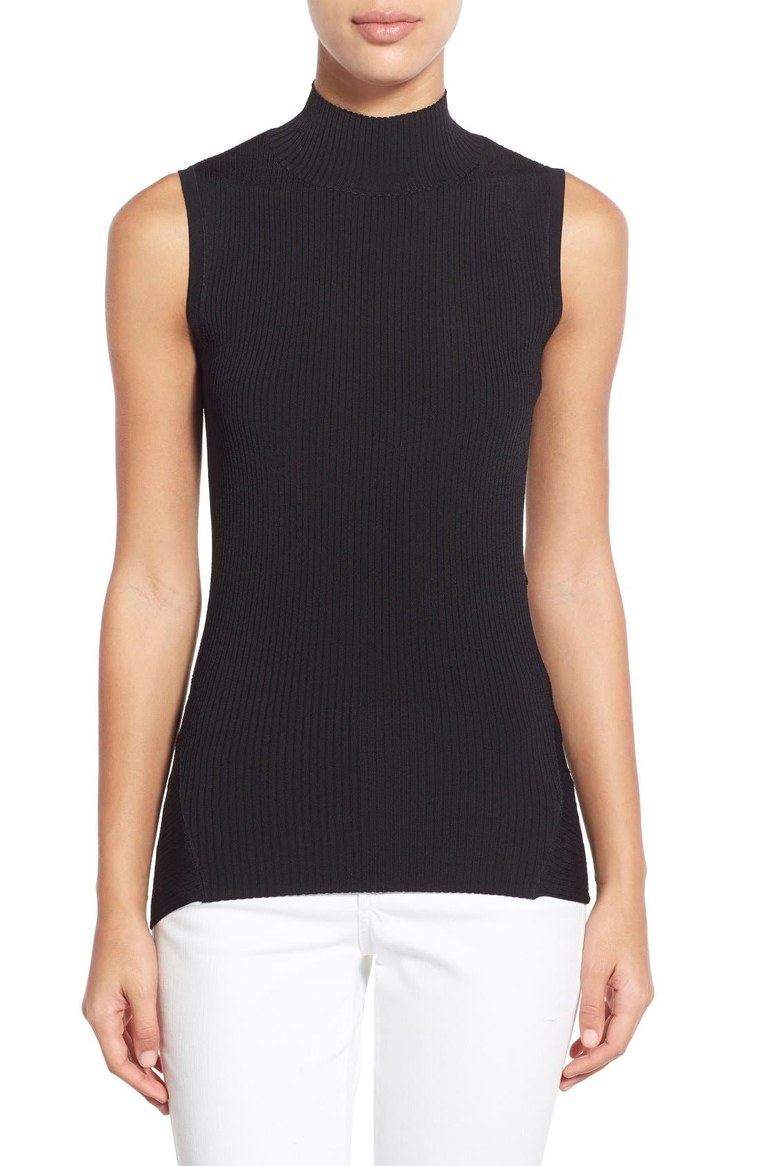 HALOGEN<SUP>®</SUP> Ribbed Mock Neck Top, Main, color, 001