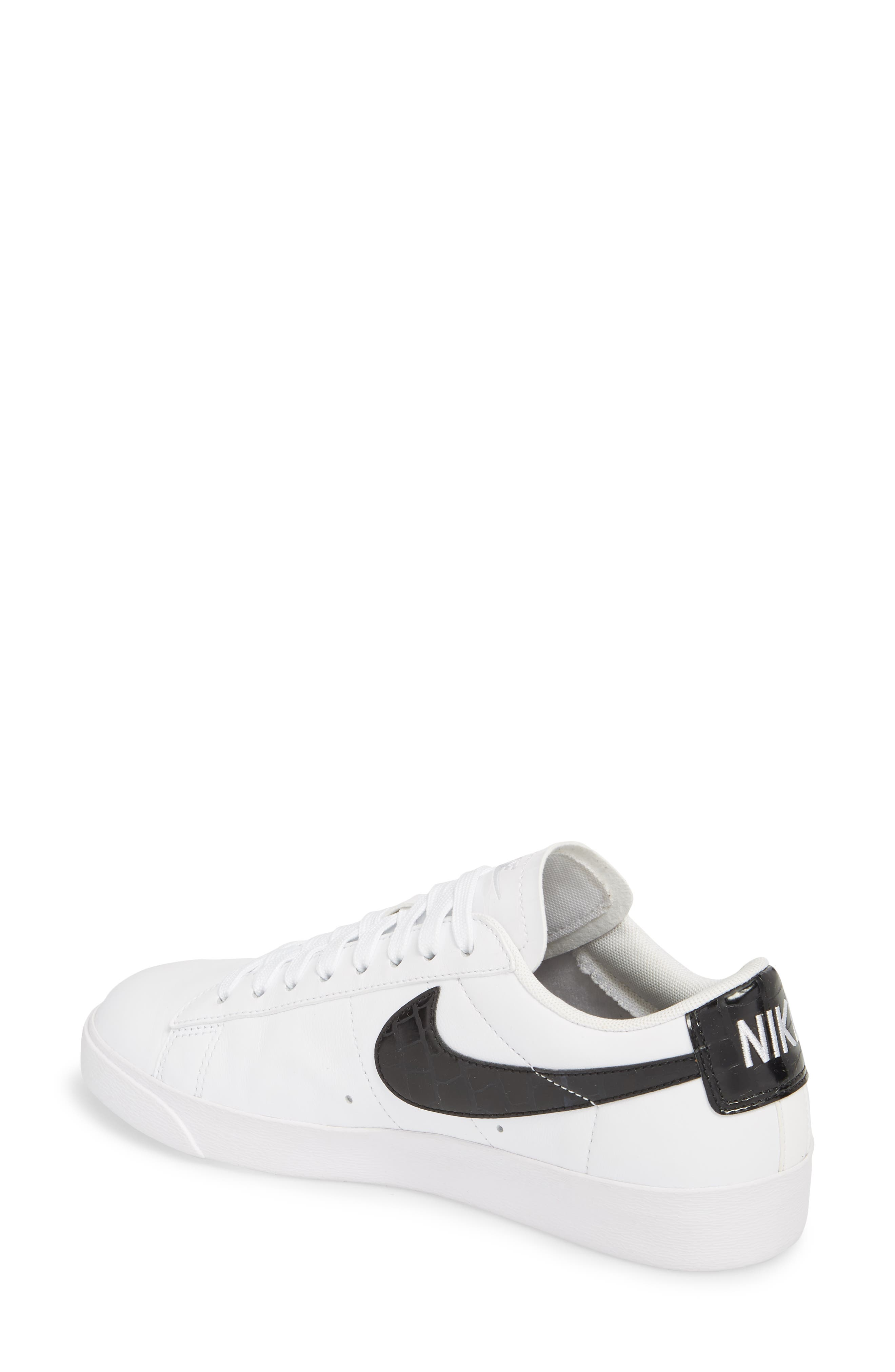 NIKE, Blazer Low Essential Sneaker, Alternate thumbnail 2, color, 100