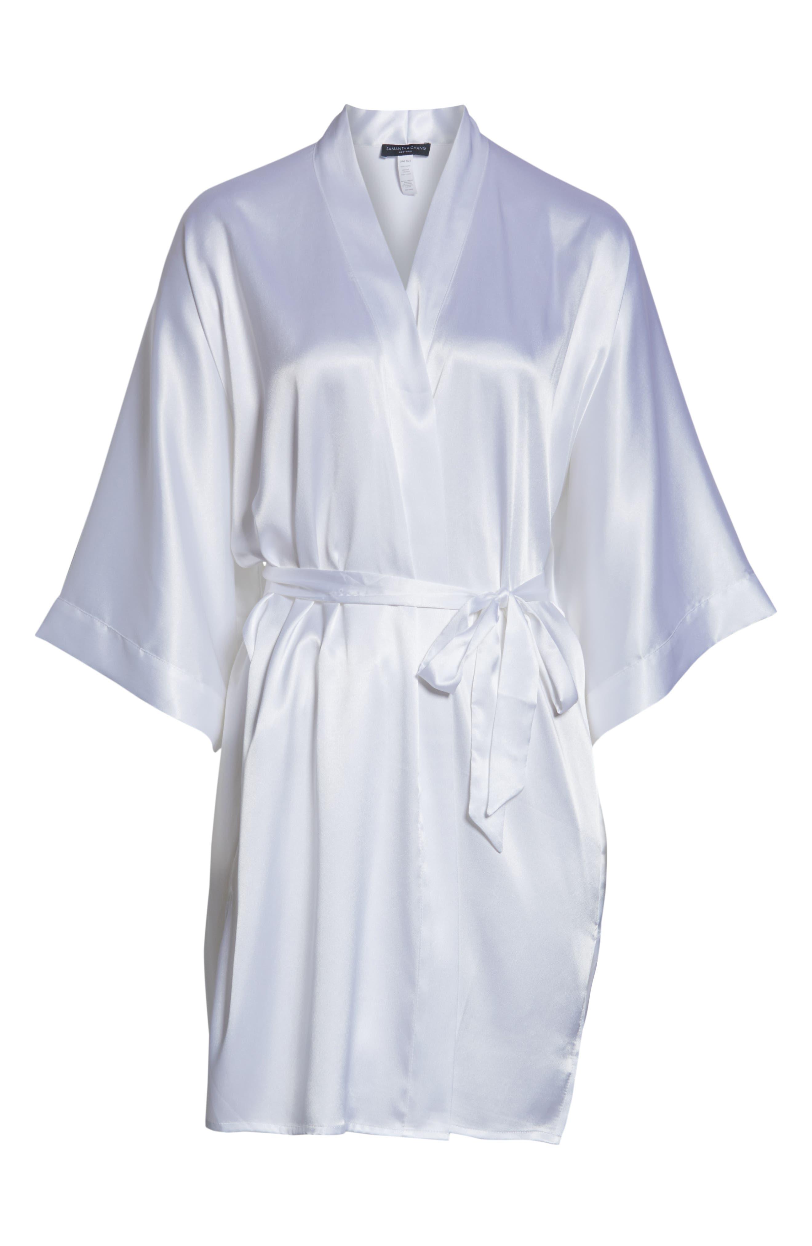 SAMANTHA CHANG, Kimono Robe, Alternate thumbnail 6, color, WHITE