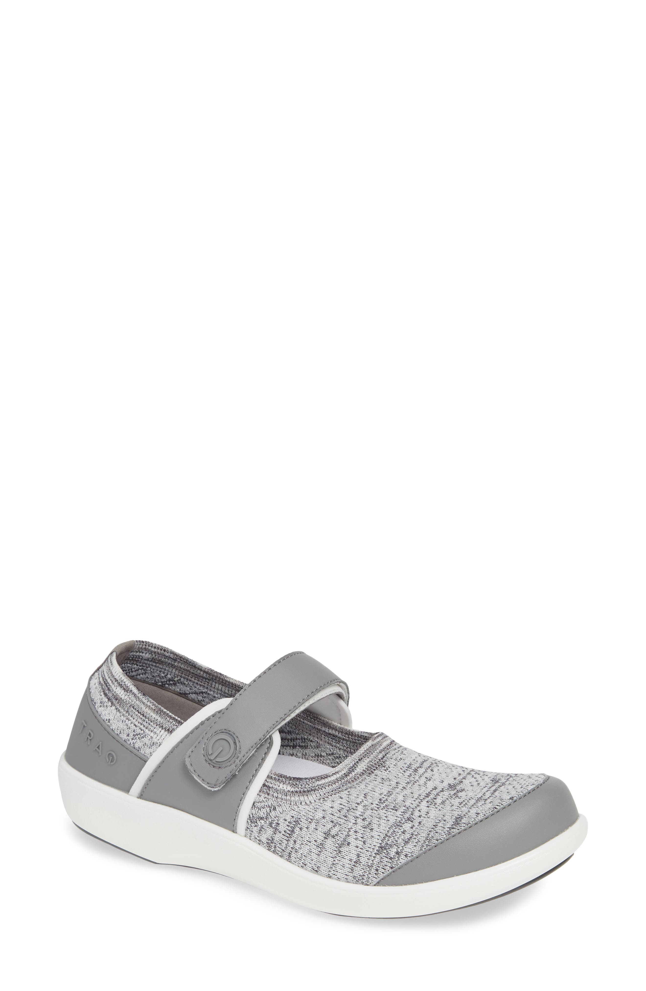 ALEGRIA, Qutie Mary Jane Flat, Main thumbnail 1, color, SOFT GREY LEATHER