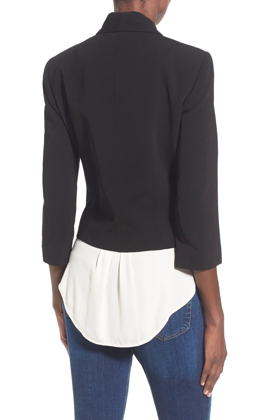 MURAL, 'Curve' Open Front Shawl Collar Blazer, Alternate thumbnail 5, color, BLACK