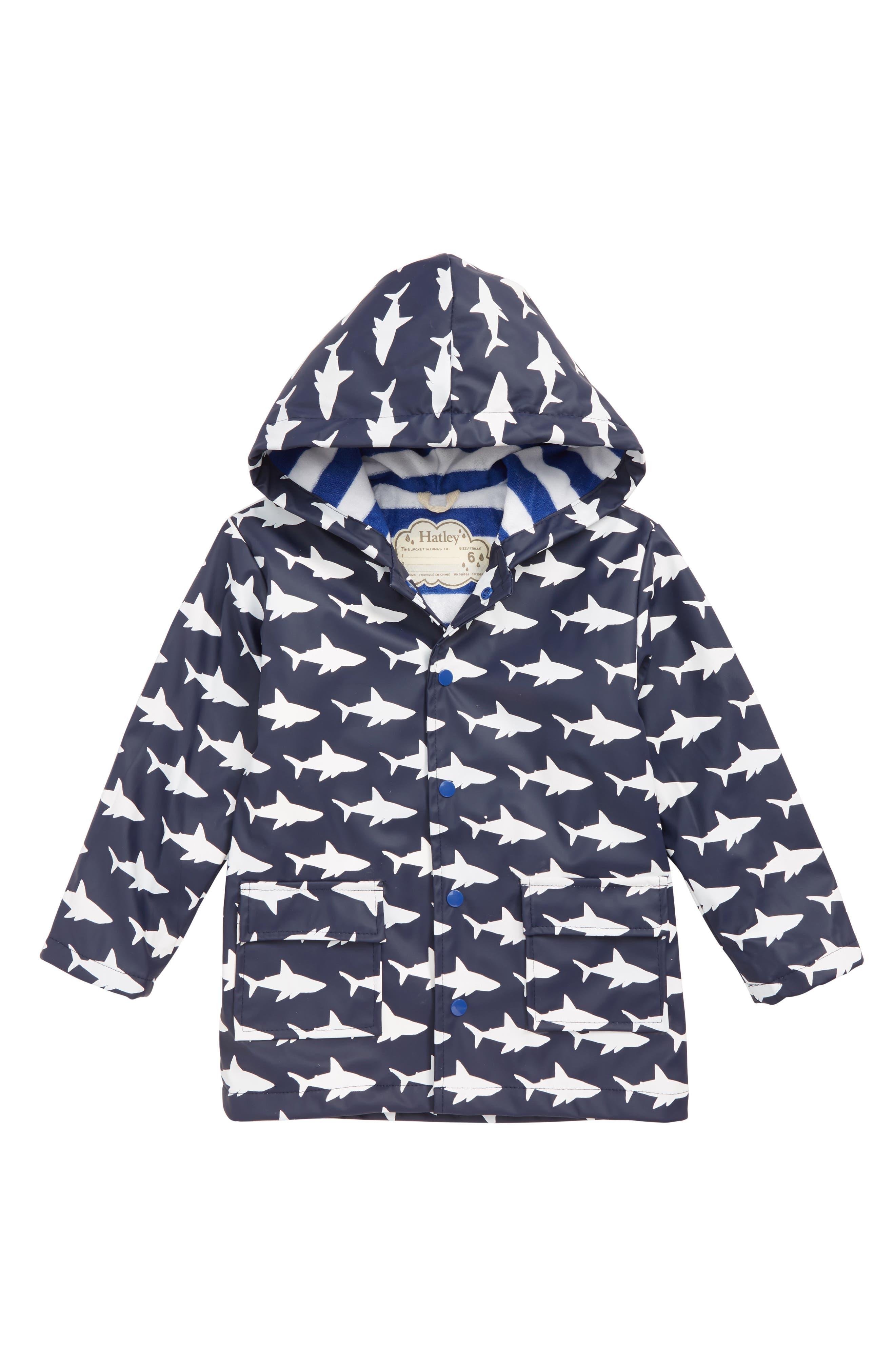 HATLEY, Color Changing Sharks Water Resistant Raincoat, Main thumbnail 1, color, BLUE