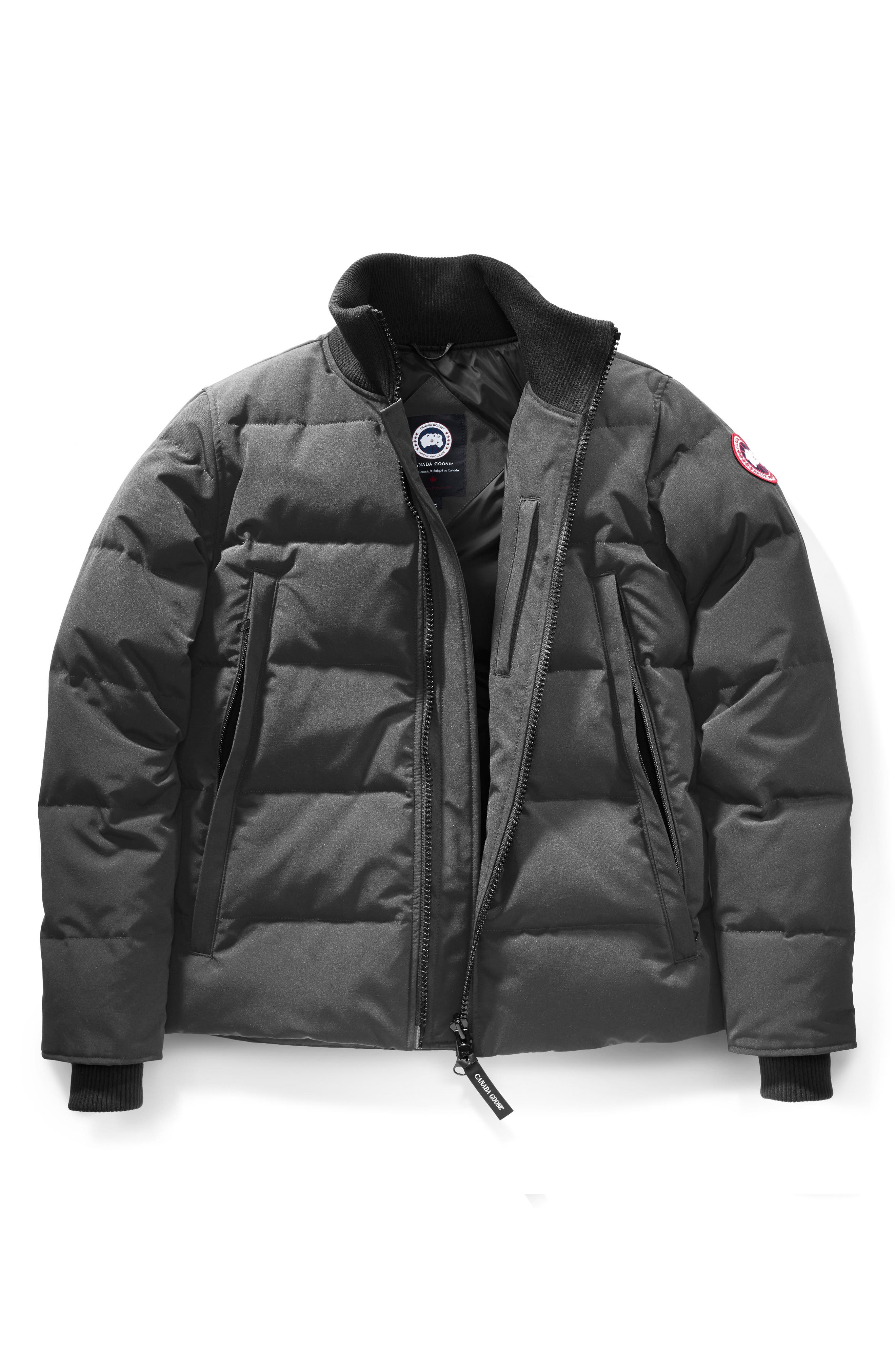 CANADA GOOSE, 'Woolford' Slim Fit Down Bomber Jacket, Alternate thumbnail 6, color, GRAPHITE