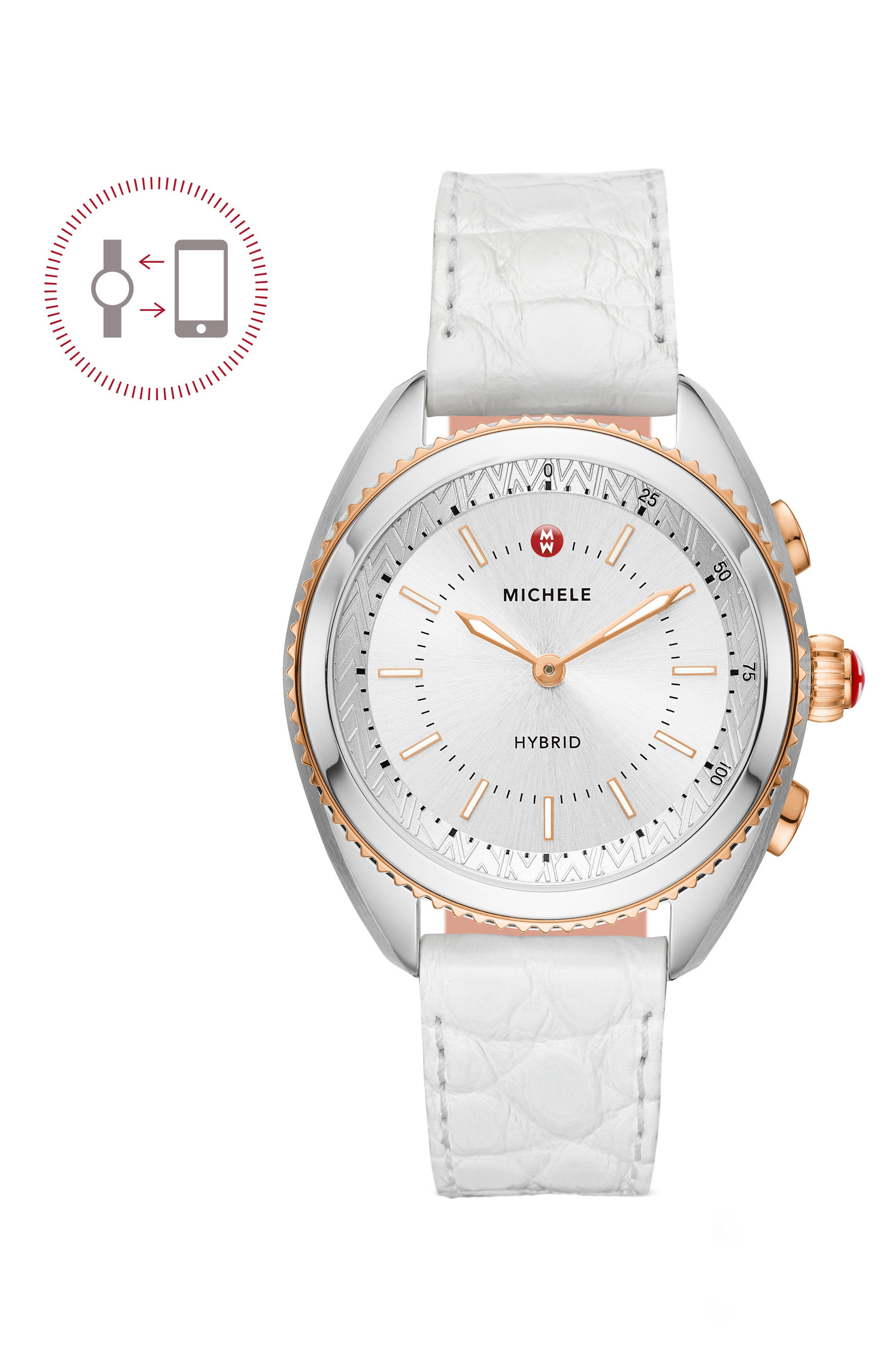 MICHELE Hybrid Tracker Smart Watch, 38mm, Main, color, WHITE/ SILVER/ ROSE GOLD