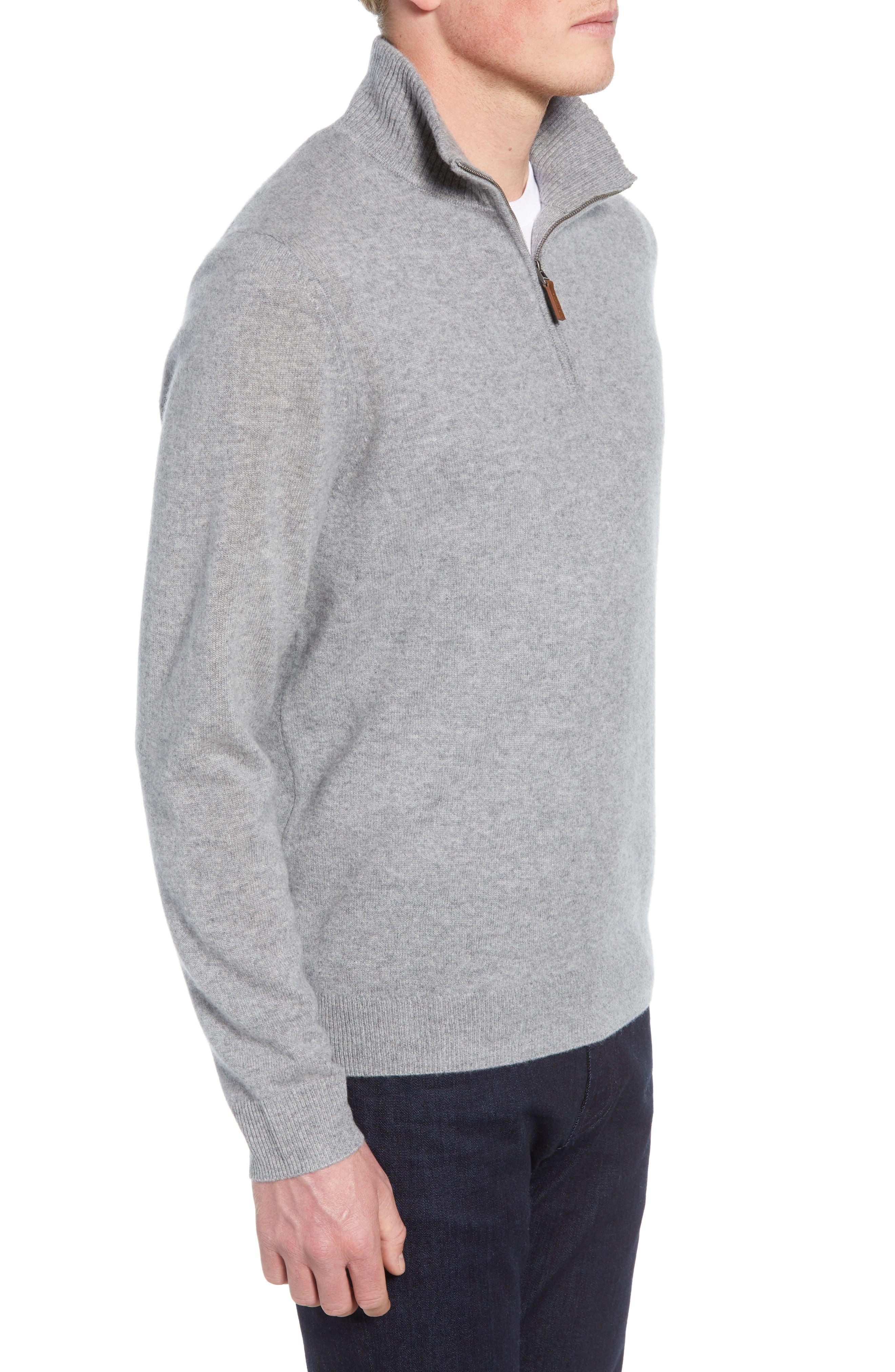 NORDSTROM MEN'S SHOP, Regular Fit Cashmere Quarter Zip Pullover, Alternate thumbnail 3, color, GREY DRIFTWOOD