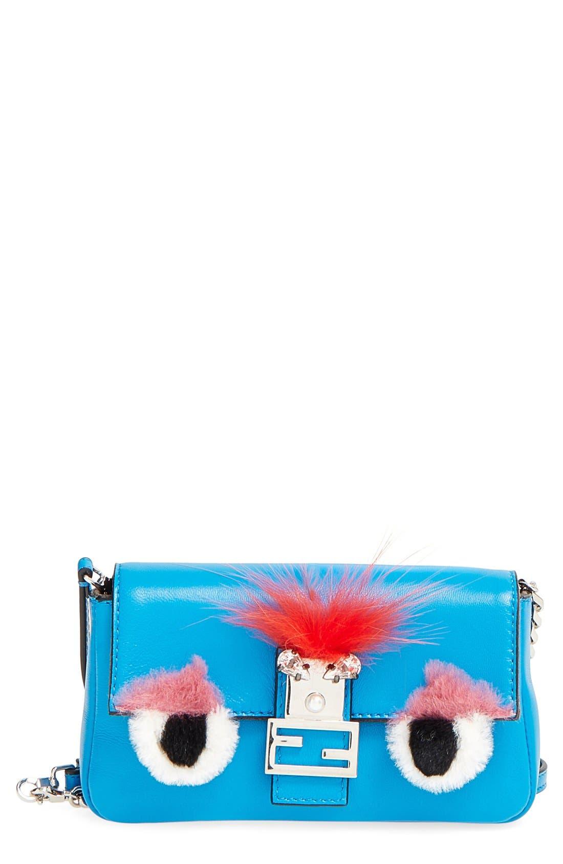 FENDI, 'Monster' Genuine Rabbit Fur & Genuine Fox Fur Micro Baguette, Main thumbnail 1, color, BLUE ROYAL/ TANGERINE