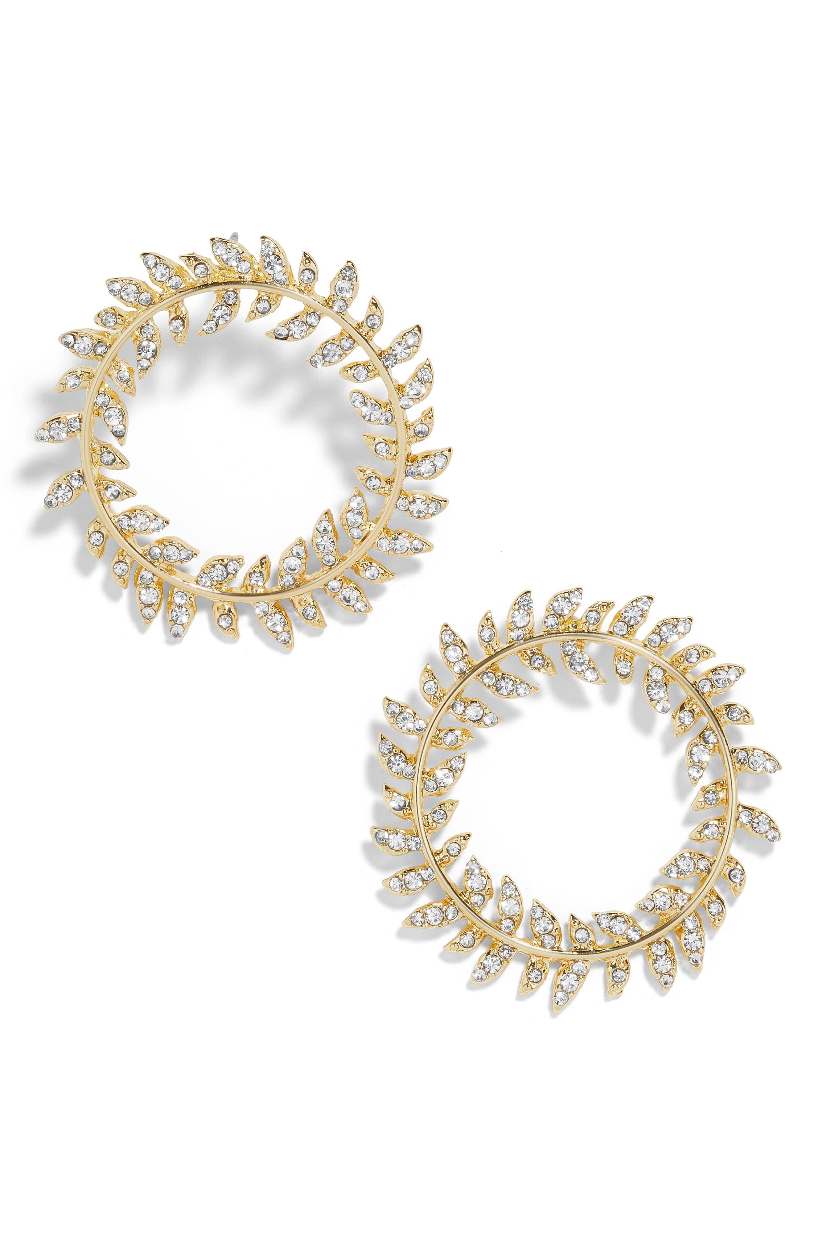 BAUBLEBAR, Protea Hoop Earrings, Main thumbnail 1, color, GOLD