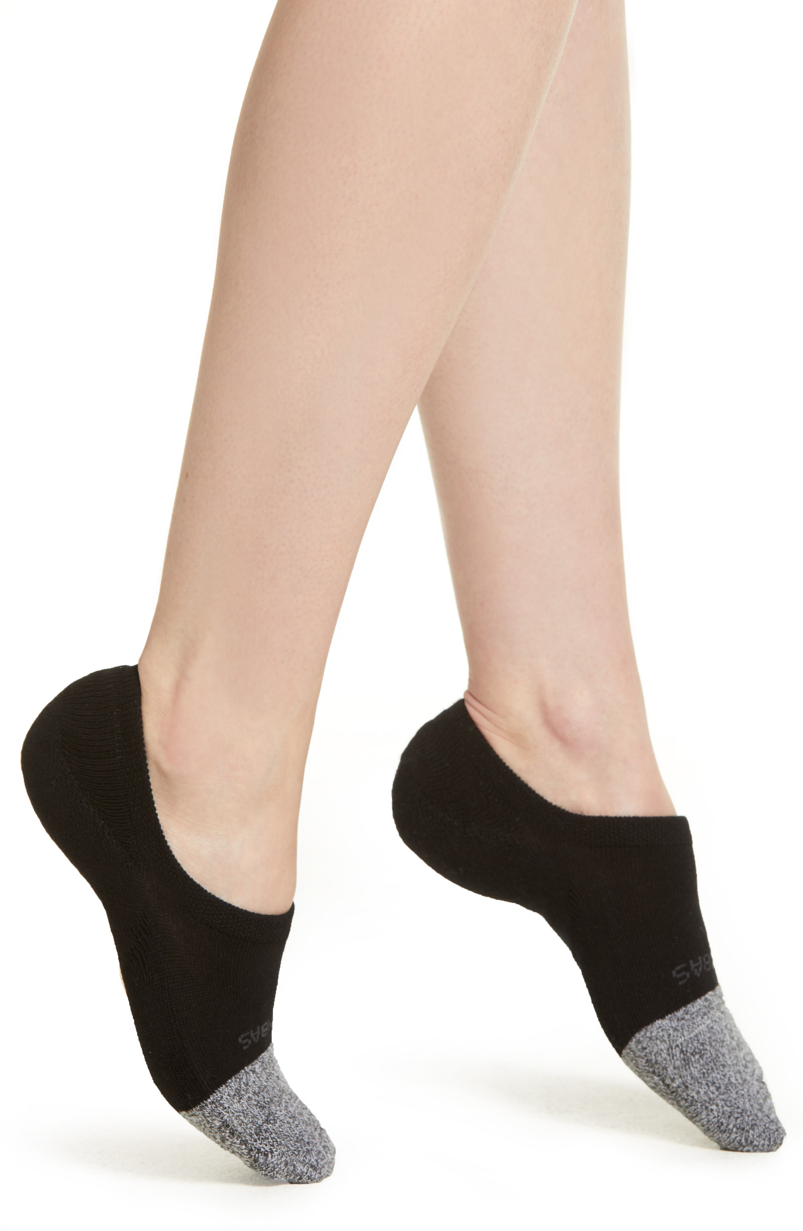 BOMBAS Cushioned No-Show Socks, Main, color, BLACK