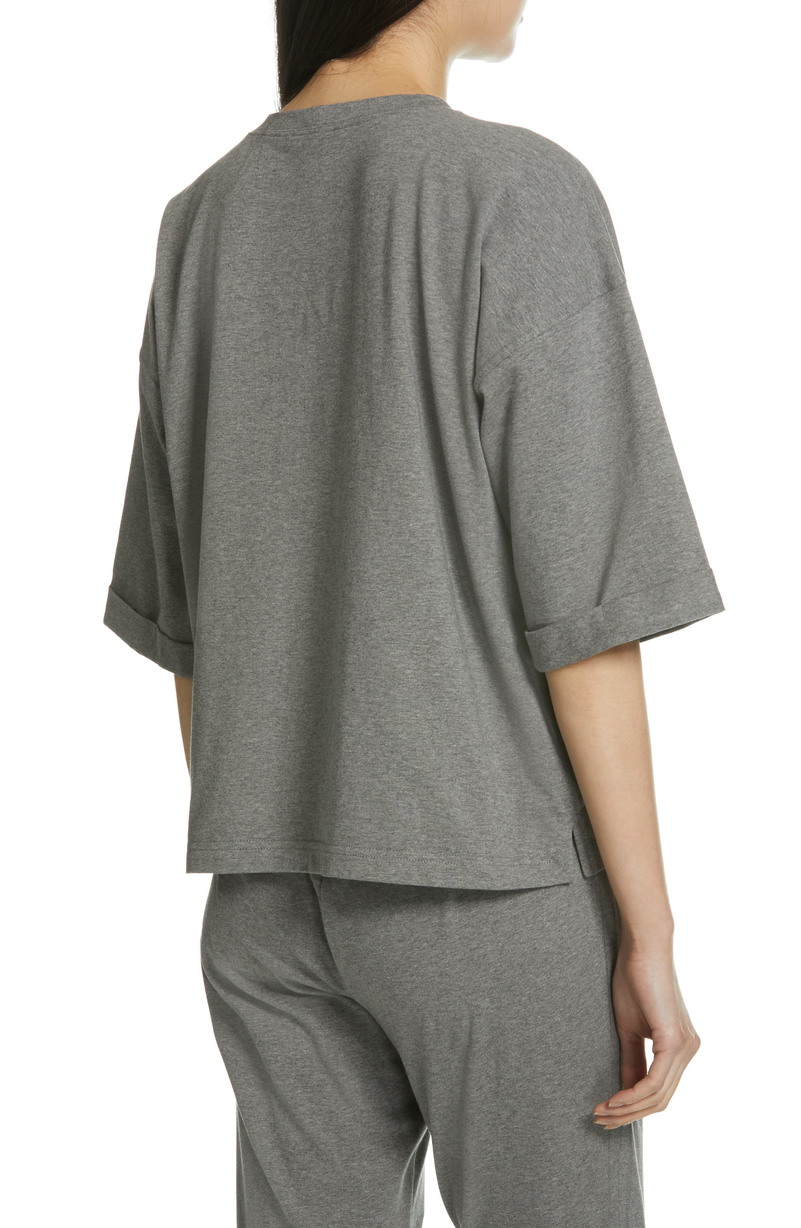 EILEEN FISHER, Stretch Organic Cotton Top, Alternate thumbnail 2, color, MOON