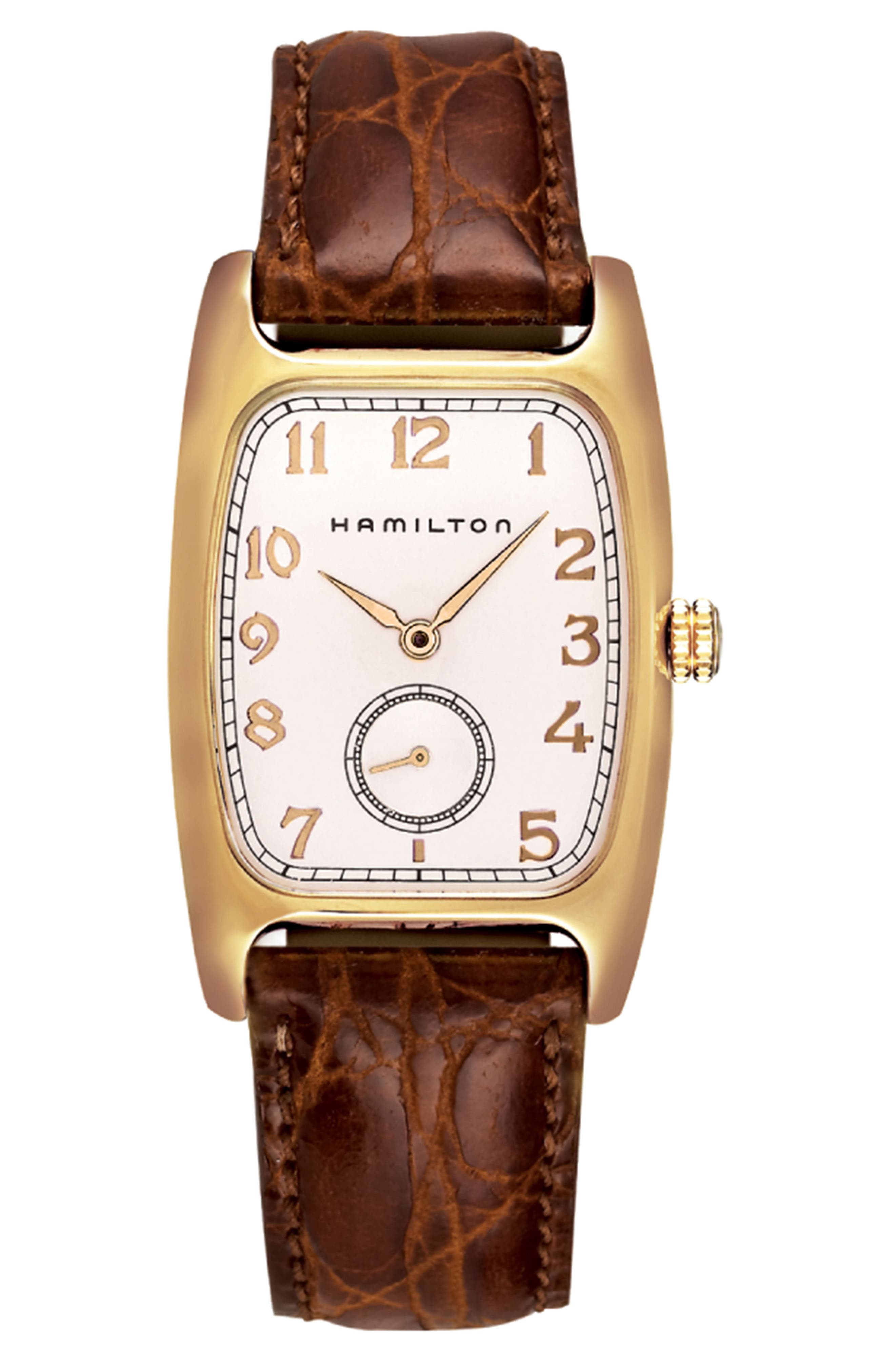 HAMILTON American Classic Boulton Leather Strap Watch, 27mm x 31mm, Main, color, BROWN/ WHITE/ GOLD