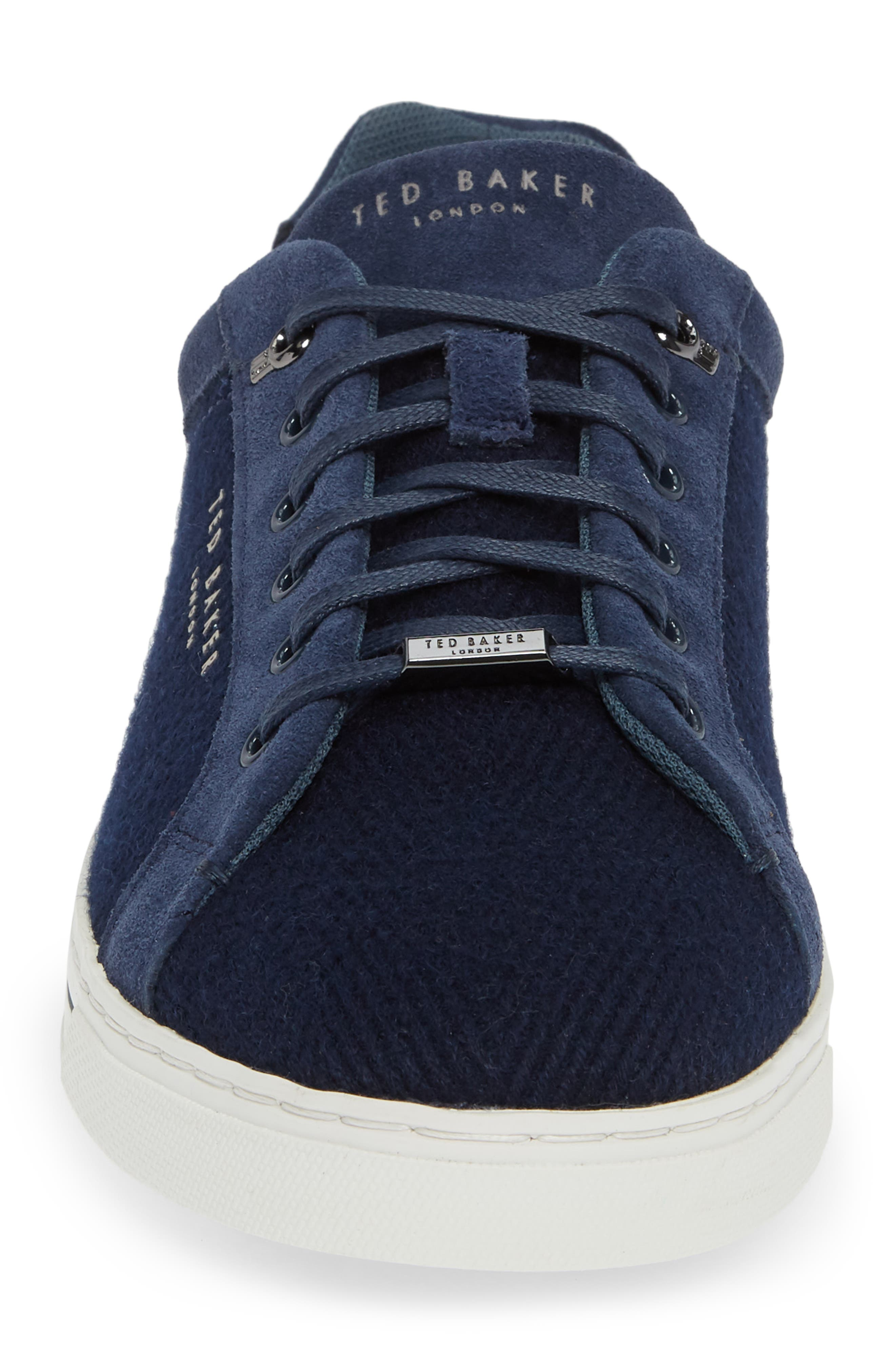 TED BAKER LONDON, Werill Sneaker, Alternate thumbnail 4, color, DARK BLUE WOOL