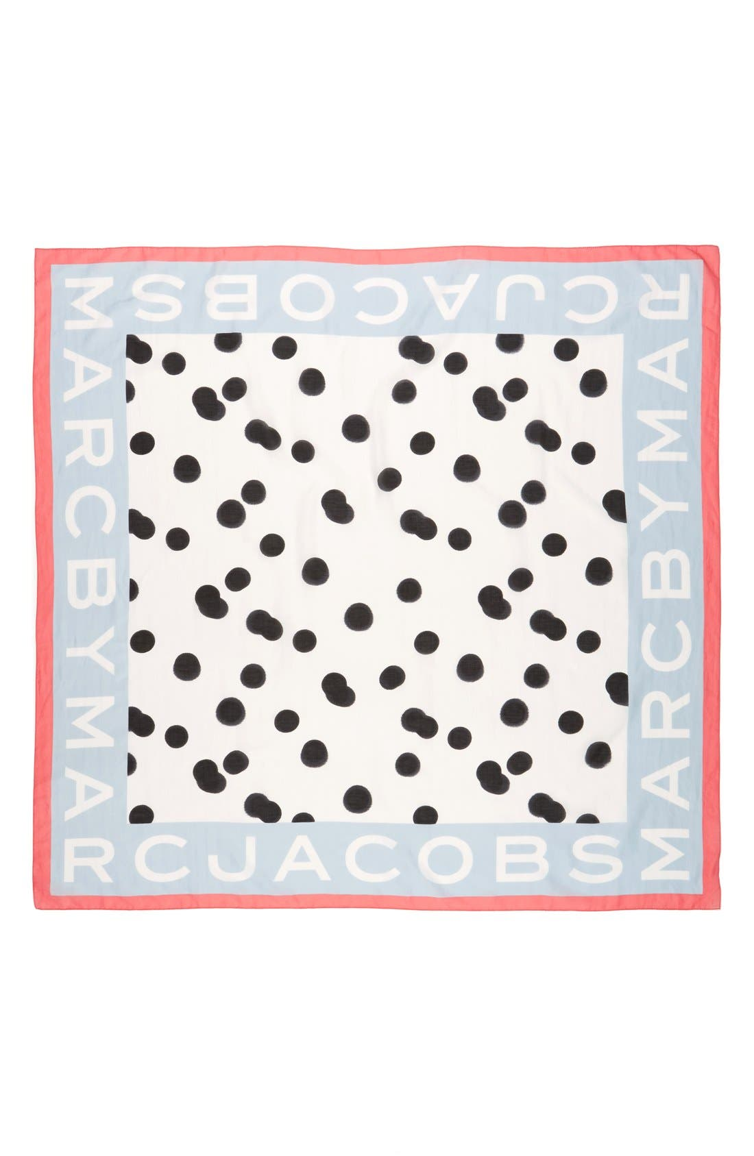 MARC JACOBS, MARC BY MARC JACOBS 'Blurred Dot' Cotton & Silk Square Scarf, Alternate thumbnail 3, color, 100