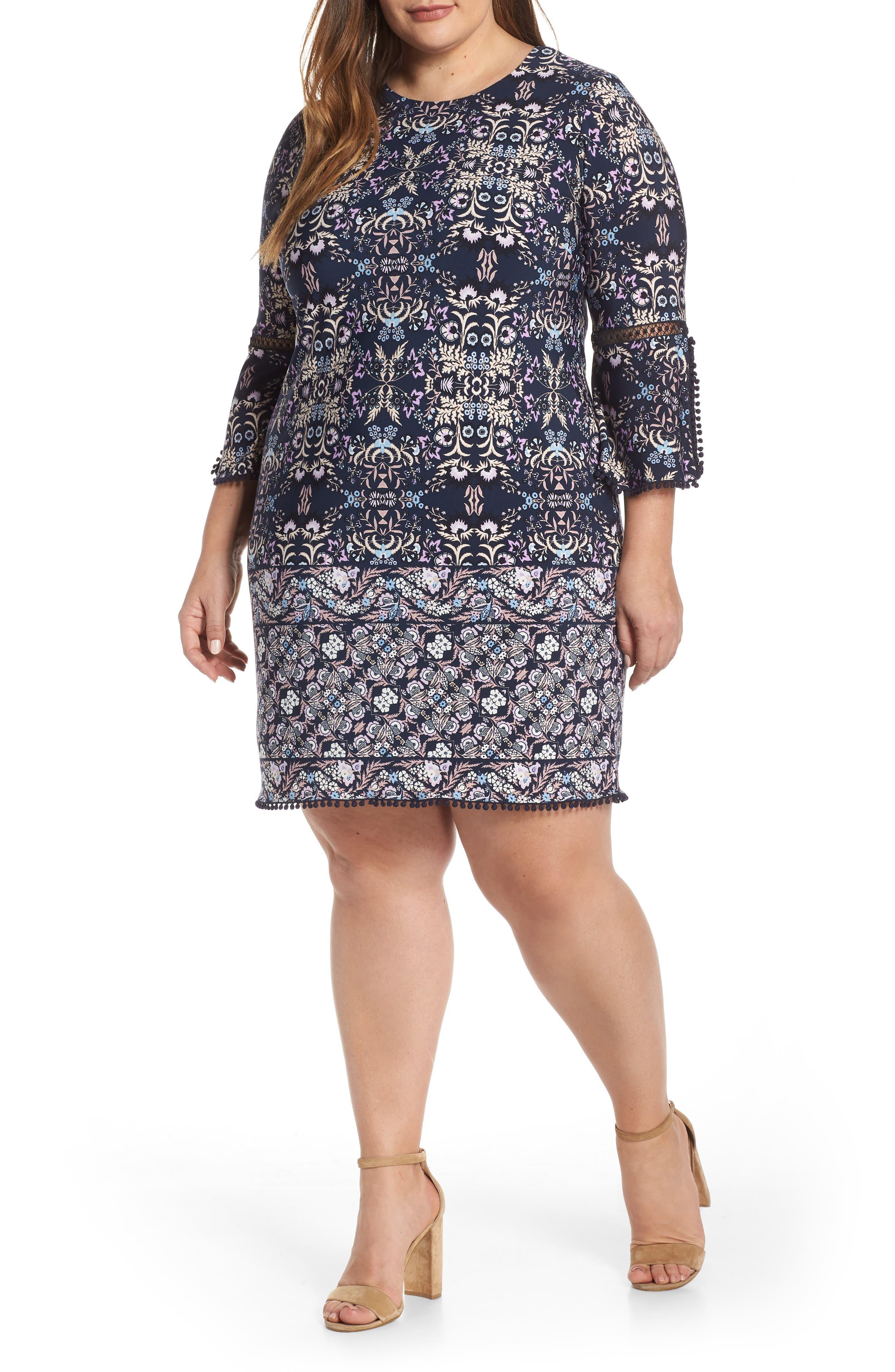Plus Size Vince Camuto Patterned T-Body Dress, Blue