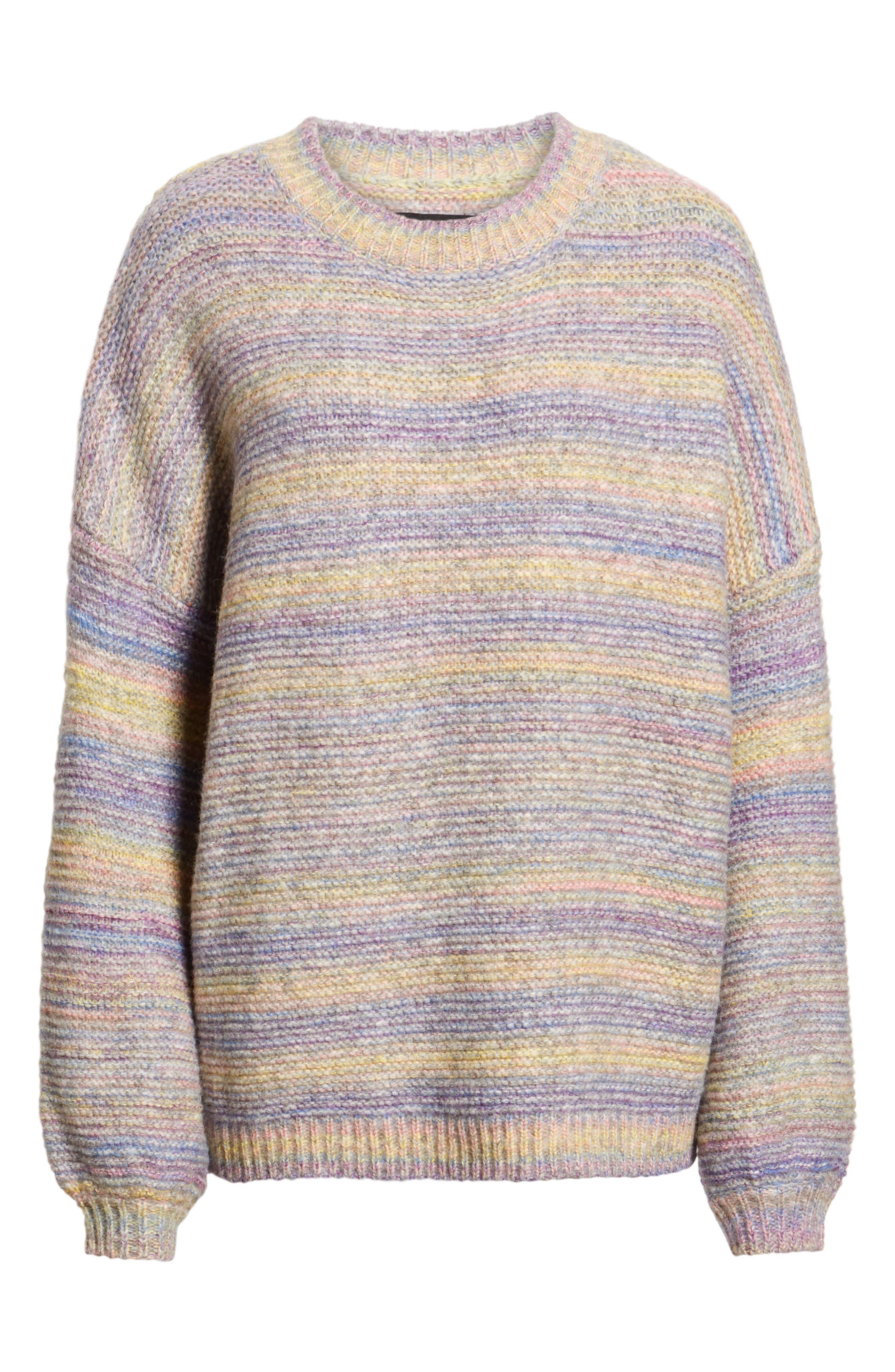 PROSPERITY DENIM, Rainbow Marl Sweater, Alternate thumbnail 6, color, YELLOW