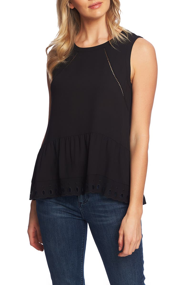 1.state Tops EYELET FLOUNCE TANK TOP
