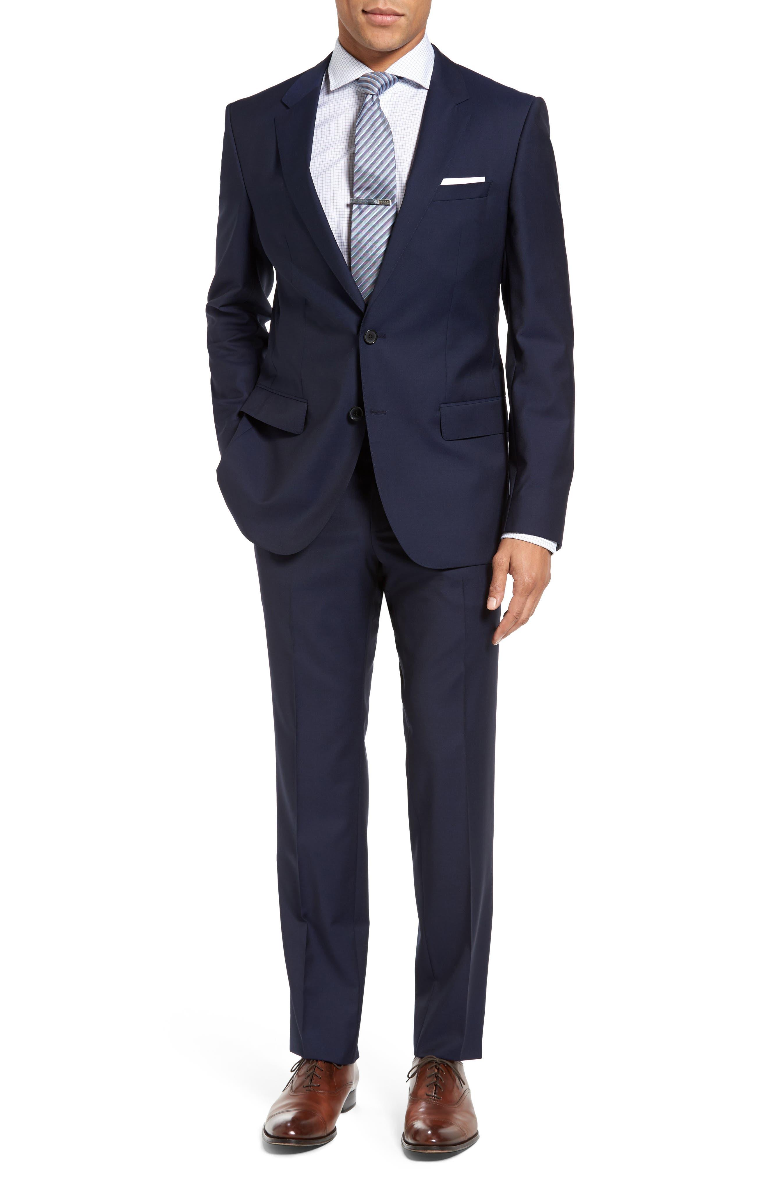 BOSS, Huge/Genius Trim Fit Navy Wool Suit, Main thumbnail 1, color, 410
