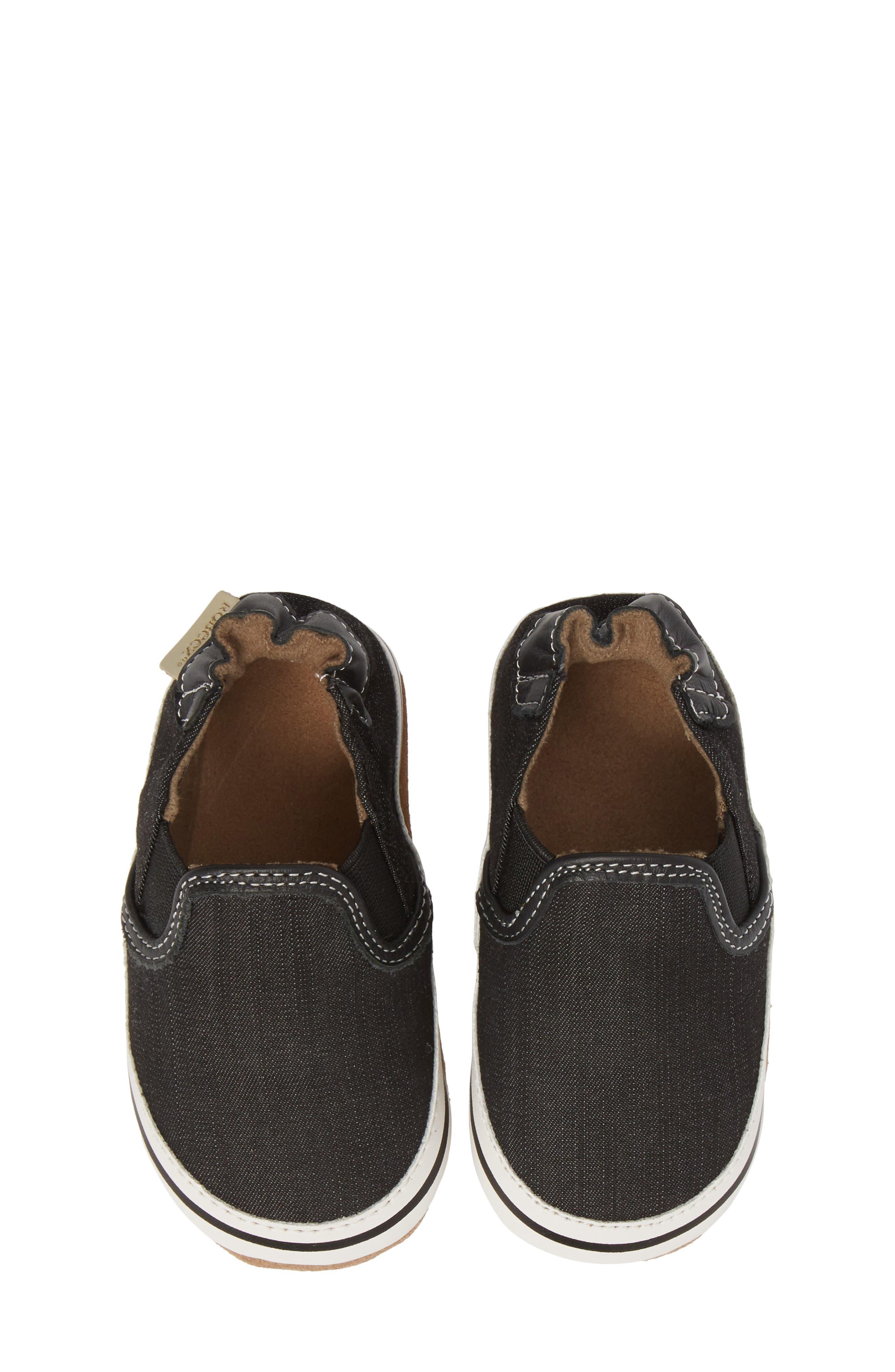 ROBEEZ<SUP>®</SUP>, Liam Slip-On Crib Sneaker, Alternate thumbnail 5, color, BLACK