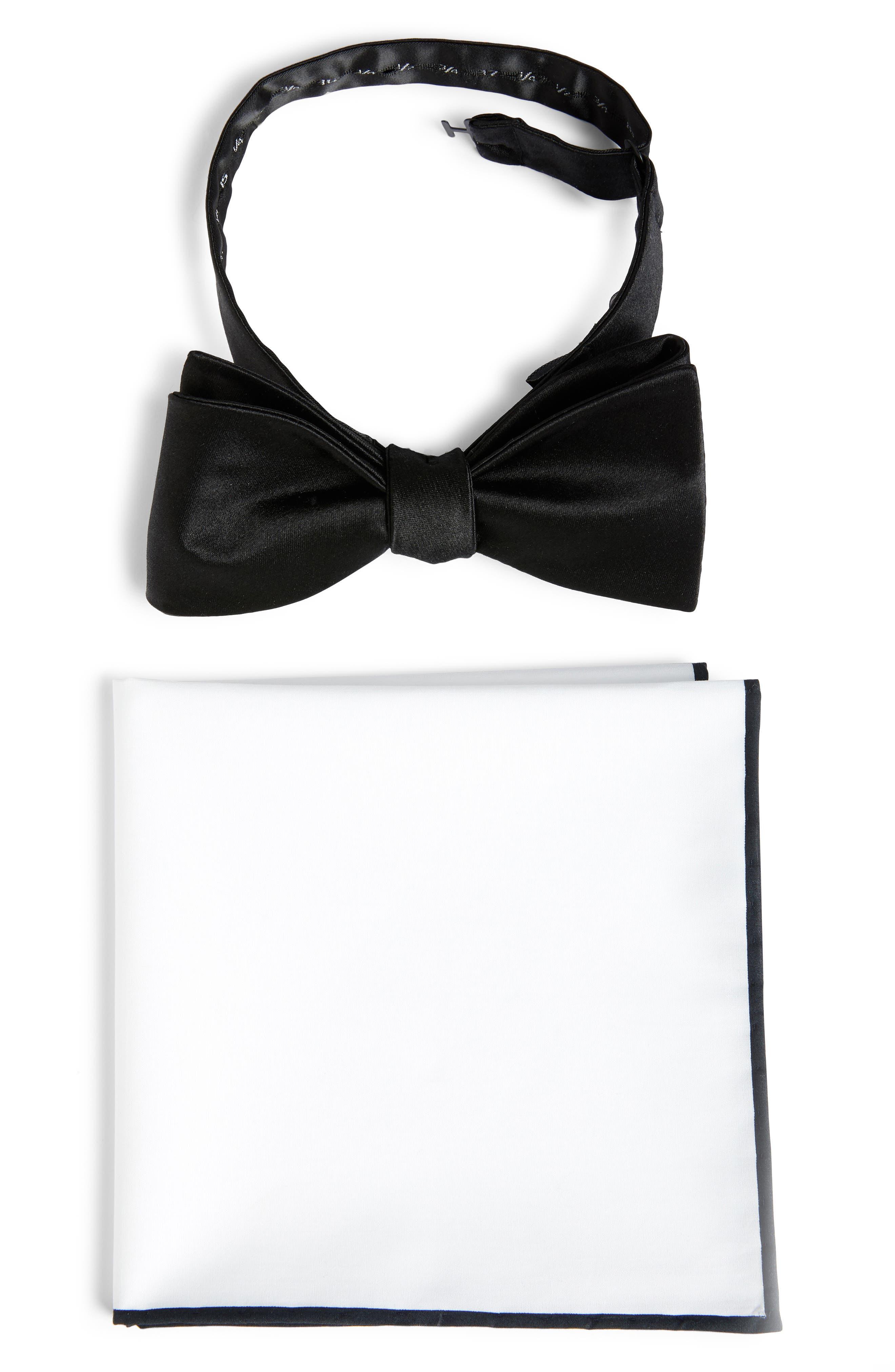THE TIE BAR, Silk Satin Bow Tie & Cotton Pocket Square Set, Main thumbnail 1, color, 001