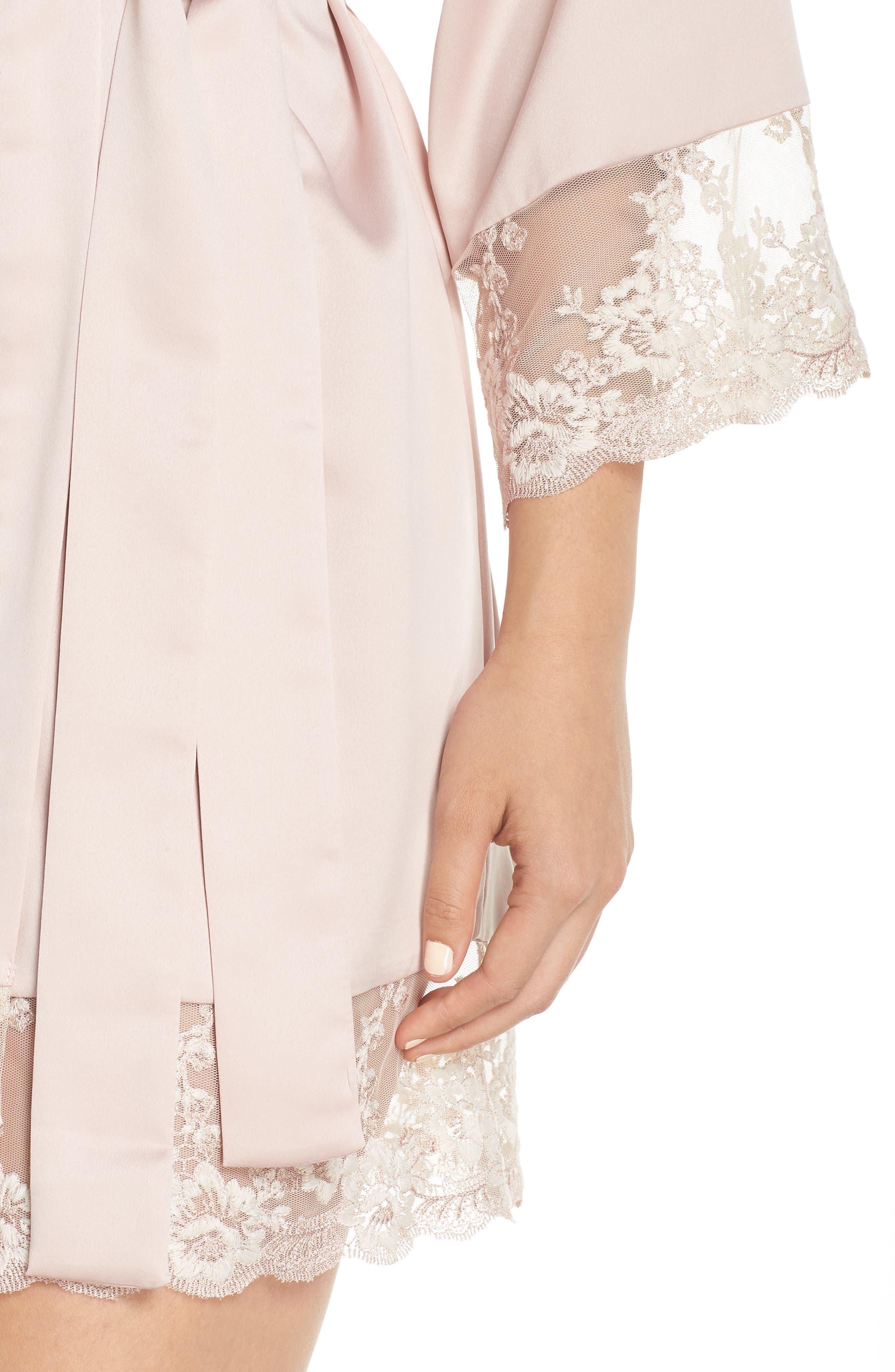 FLORA NIKROOZ, Rosa Kimono Robe, Alternate thumbnail 4, color, SHELL PINK