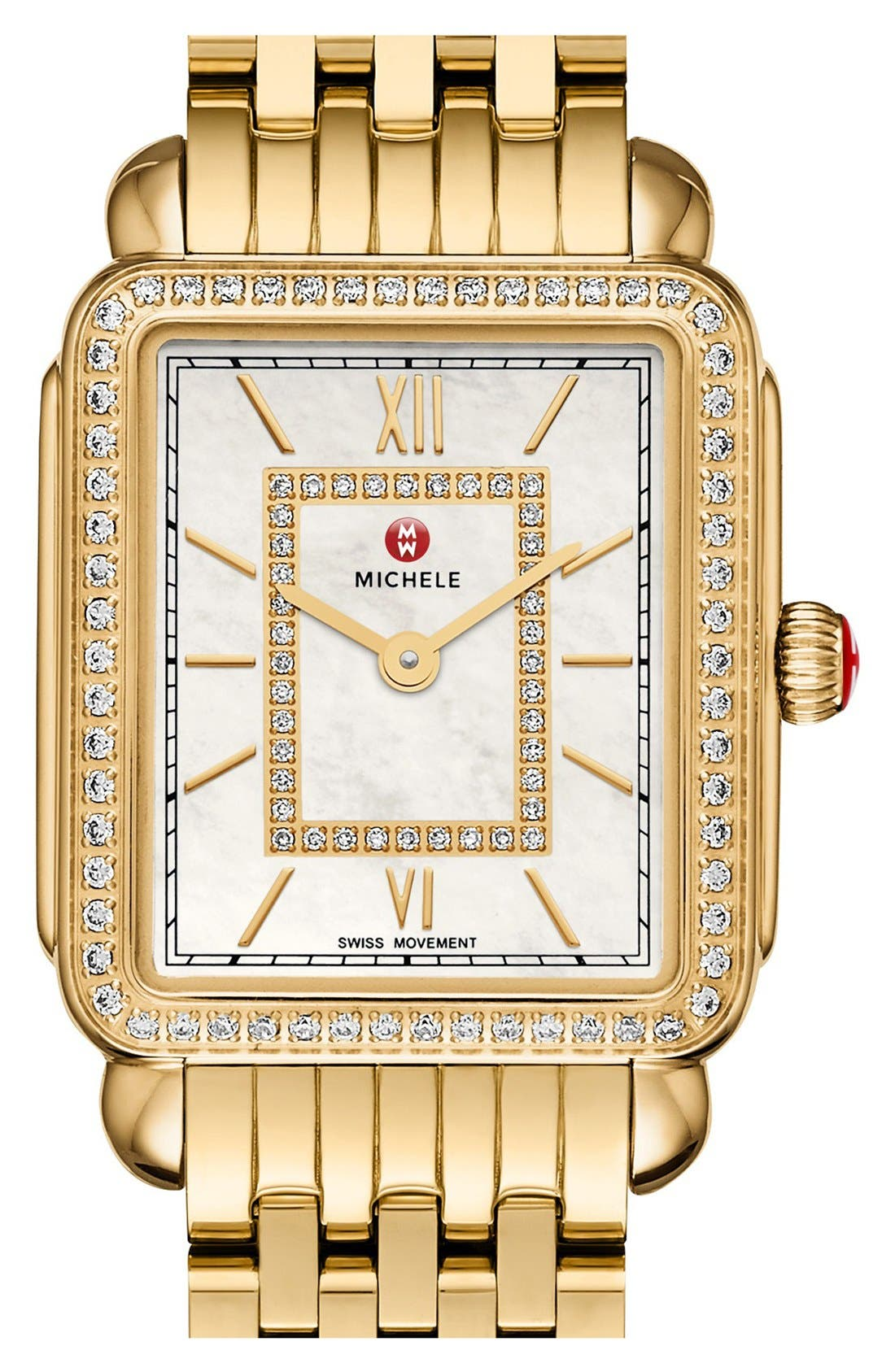 MICHELE, Deco II Diamond Dial Watch Case, 26mm x 28mm, Alternate thumbnail 3, color, GOLD