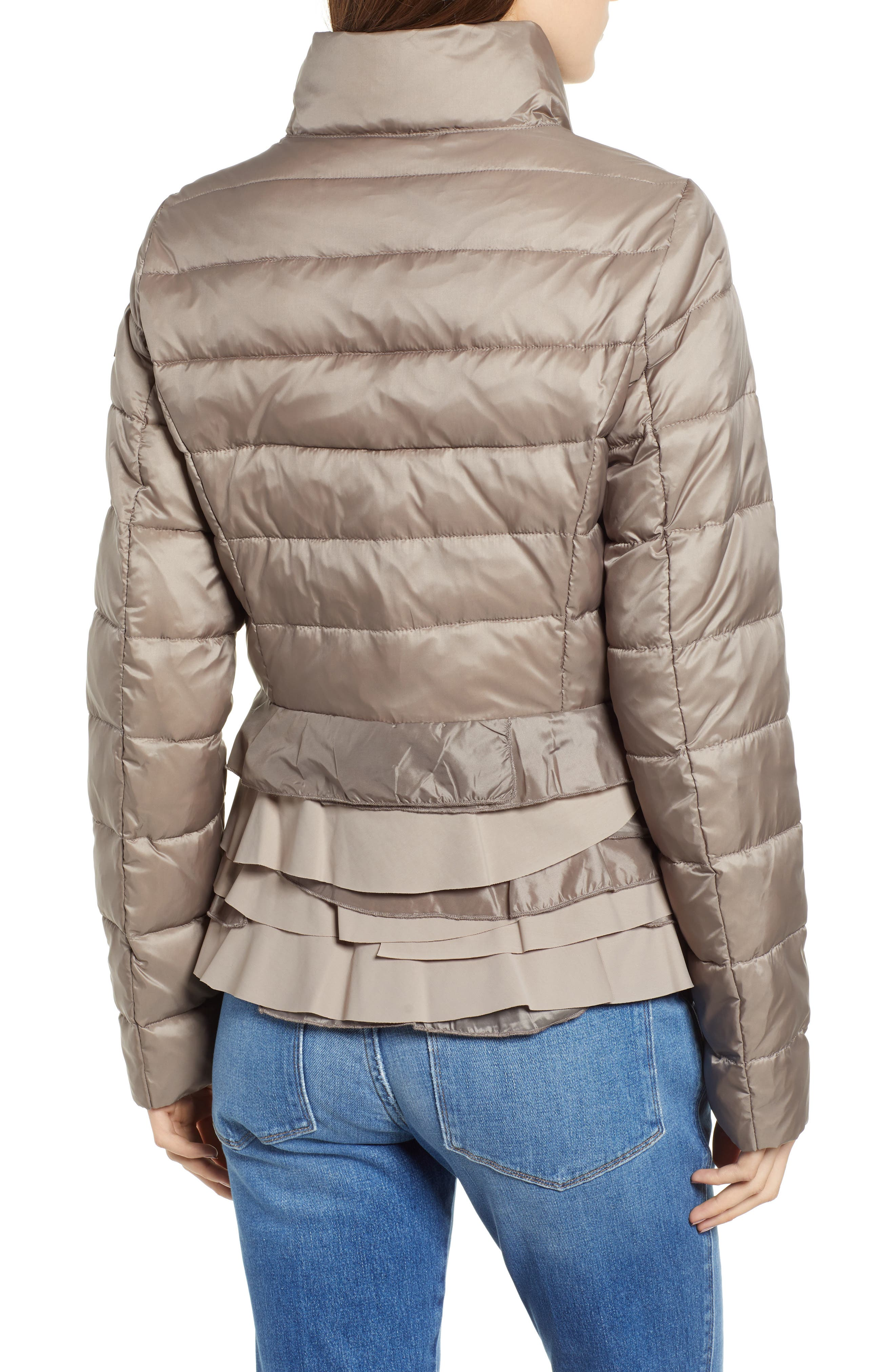 TAHARI, Zoey Ruffle Hem Puffer Jacket, Alternate thumbnail 2, color, TRUFFLE