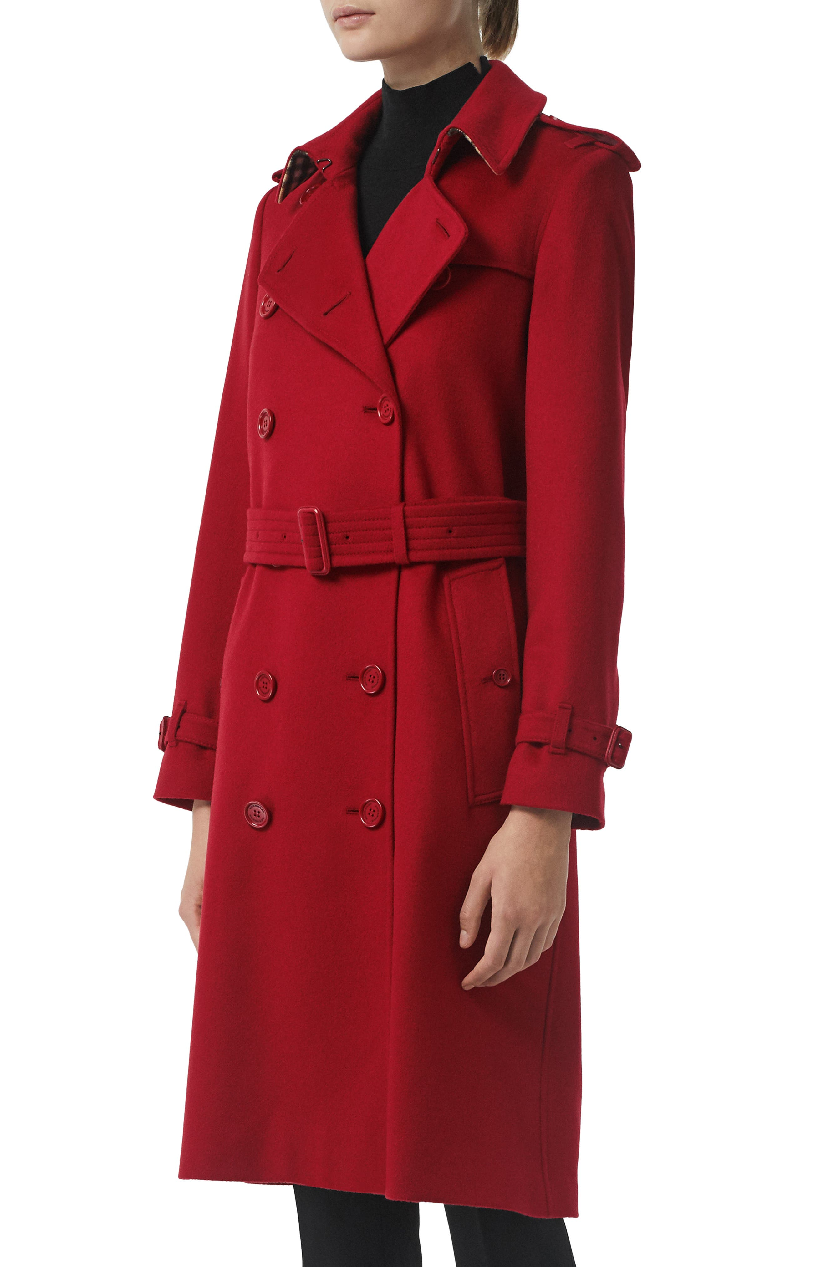 BURBERRY, Kensington Cashmere Trench Coat, Alternate thumbnail 3, color, PARADE RED