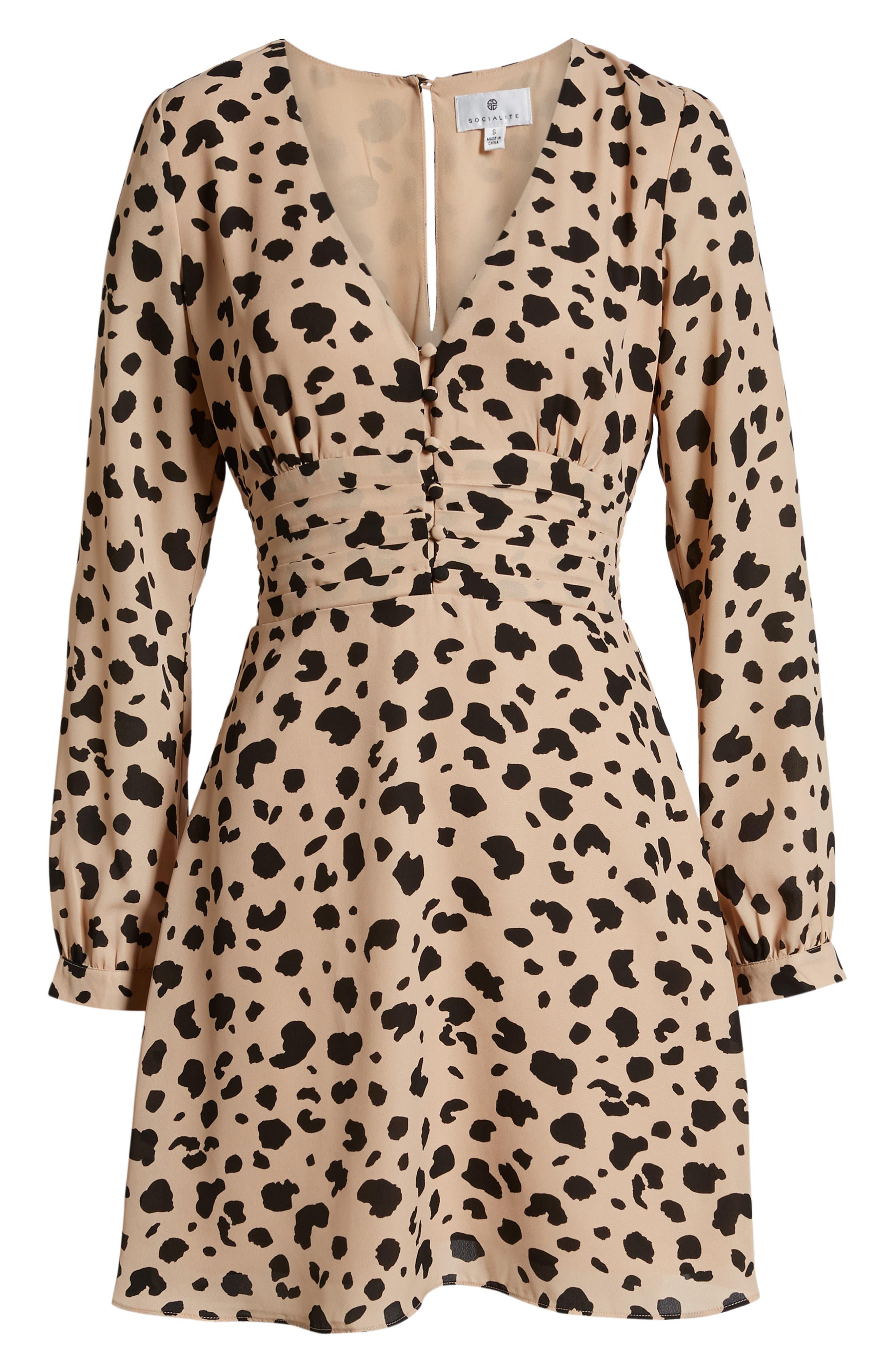 SOCIALITE, Print Button Dress, Alternate thumbnail 7, color, LEOPARD
