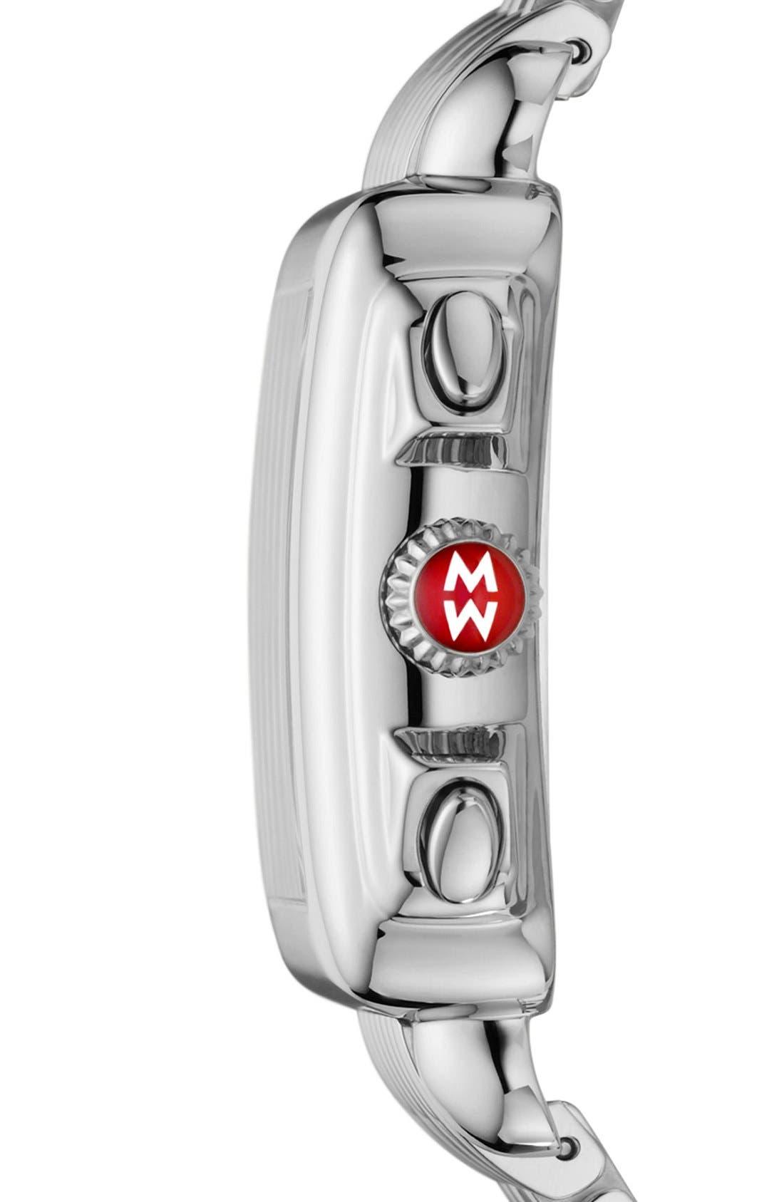 MICHELE, Deco 18mm Bracelet Watchband, Alternate thumbnail 7, color, SILVER