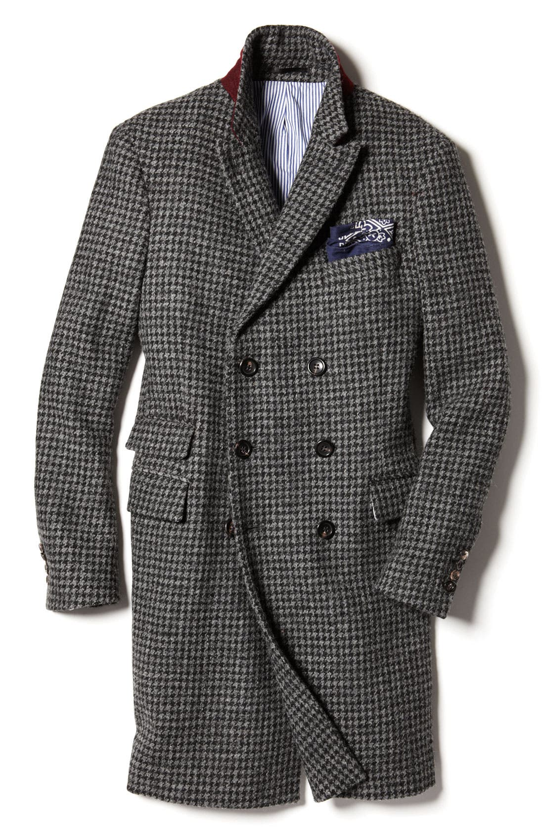 MICHAEL BASTIAN, Double Breasted Houndstooth Topcoat, Alternate thumbnail 4, color, 028