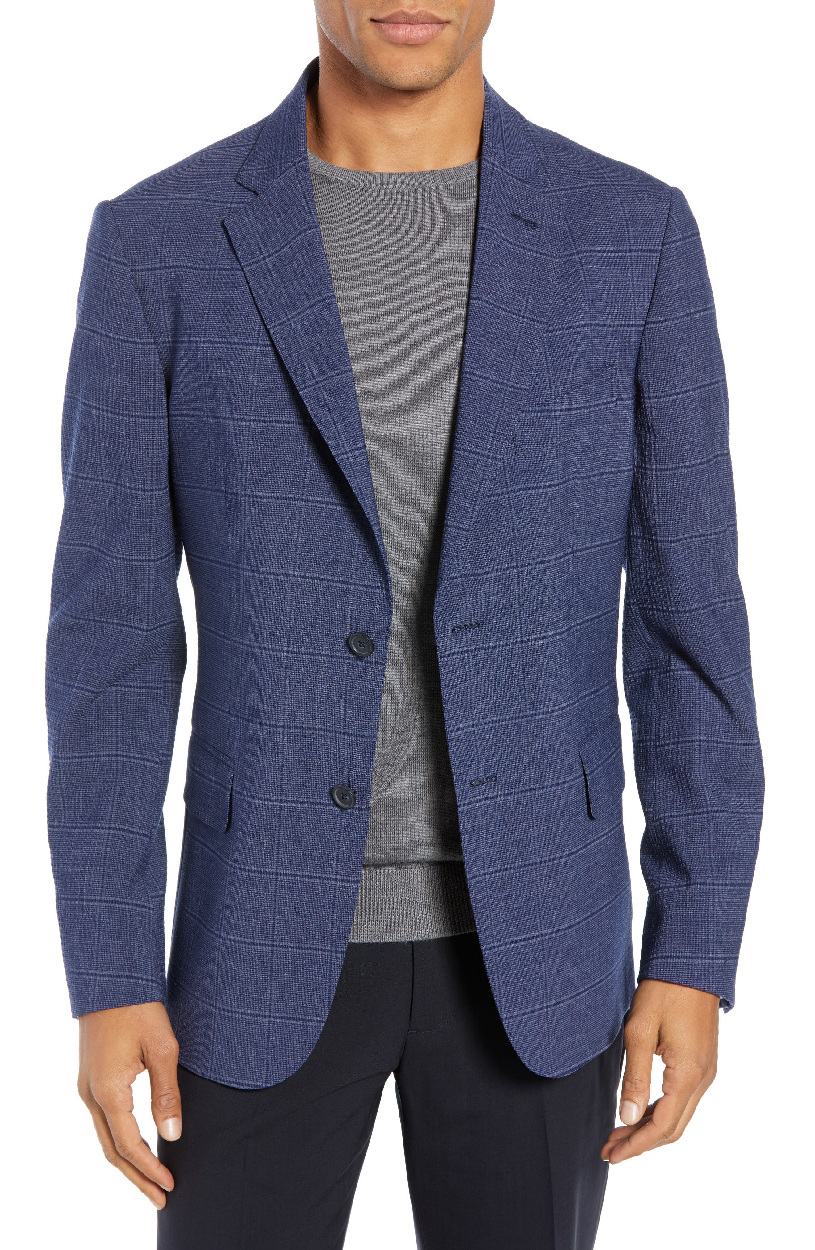 JOHN W. NORDSTROM<SUP>®</SUP>, Classic Fit Stretch Plaid Seersucker Sport Coat, Main thumbnail 1, color, 420