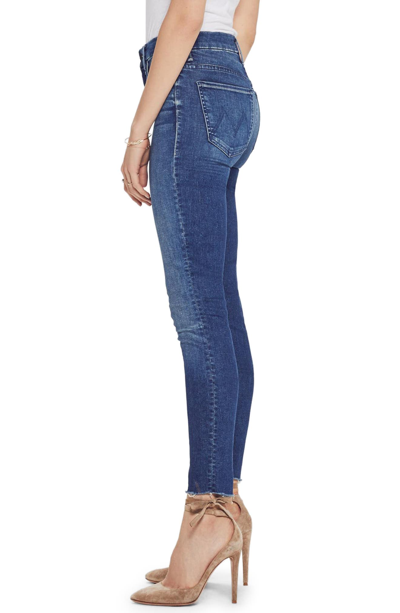 MOTHER, The Looker High Waist Frayed Ankle Skinny Jeans, Alternate thumbnail 3, color, LURE ME IN