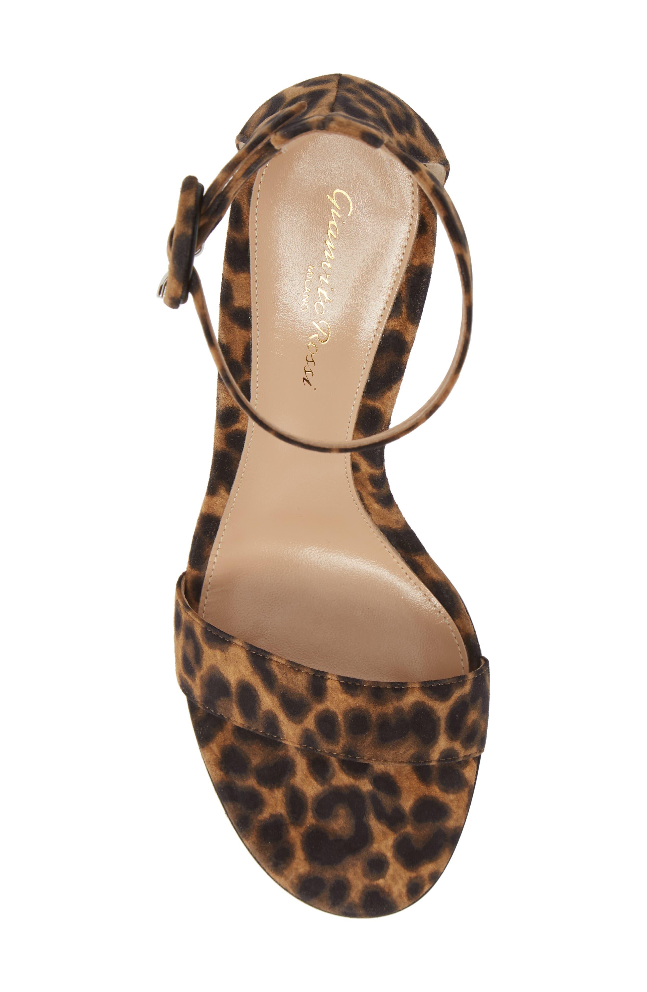 GIANVITO ROSSI, Leopard Print Ankle Strap Sandal, Alternate thumbnail 5, color, LEOPARD