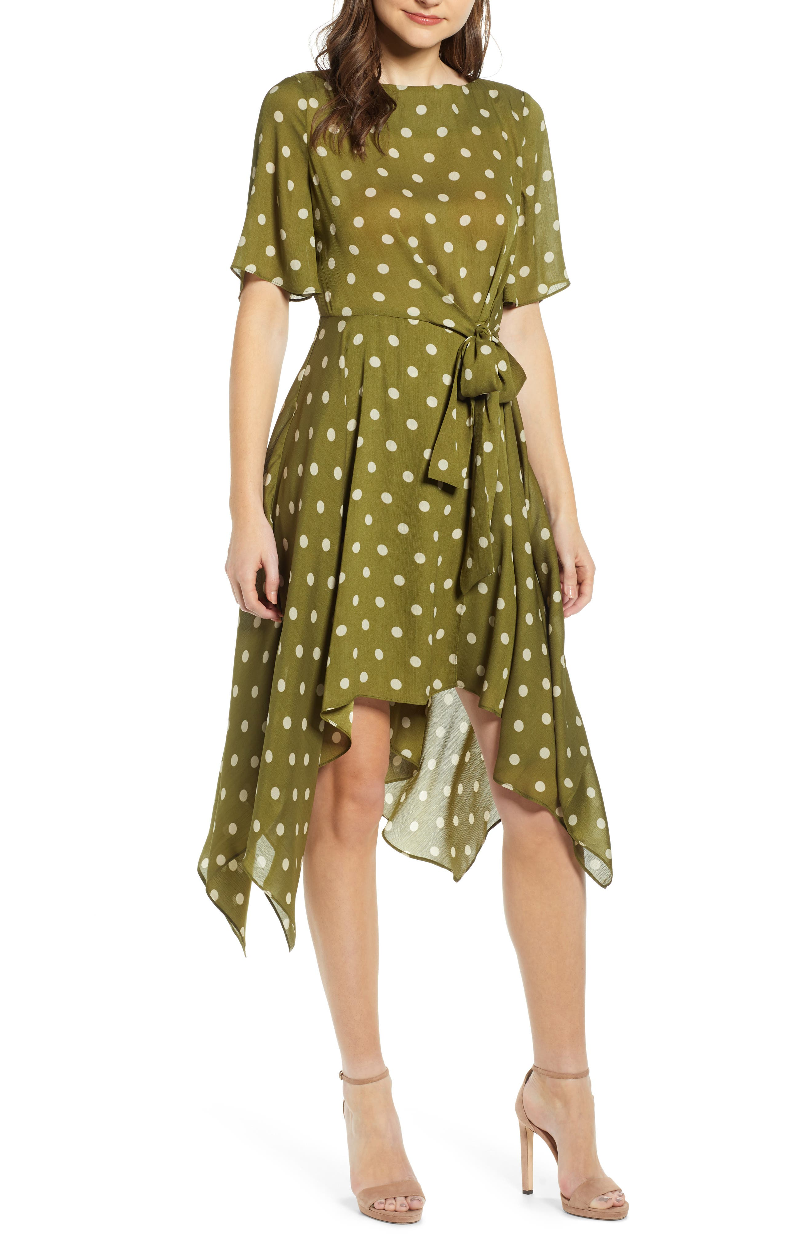 CHRISELLE LIM COLLECTION, Chriselle Lim Marie Handkerchief Hem Midi Dress, Main thumbnail 1, color, CREAM/ OLIVE