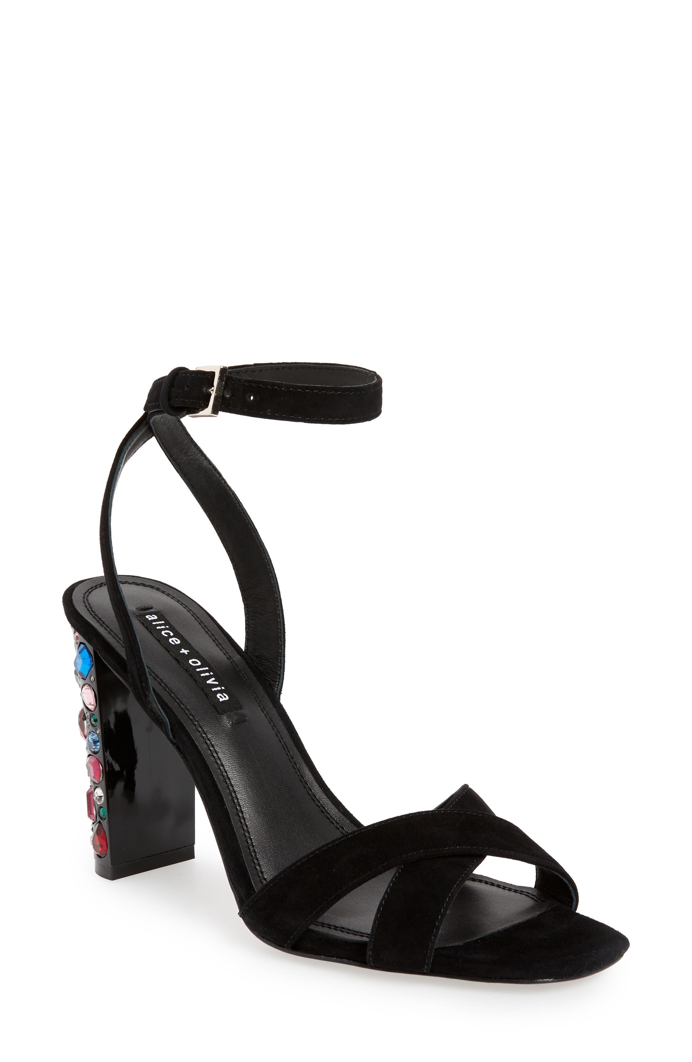 ALICE + OLIVIA Renia Crystal Heel Sandal, Main, color, BLACK