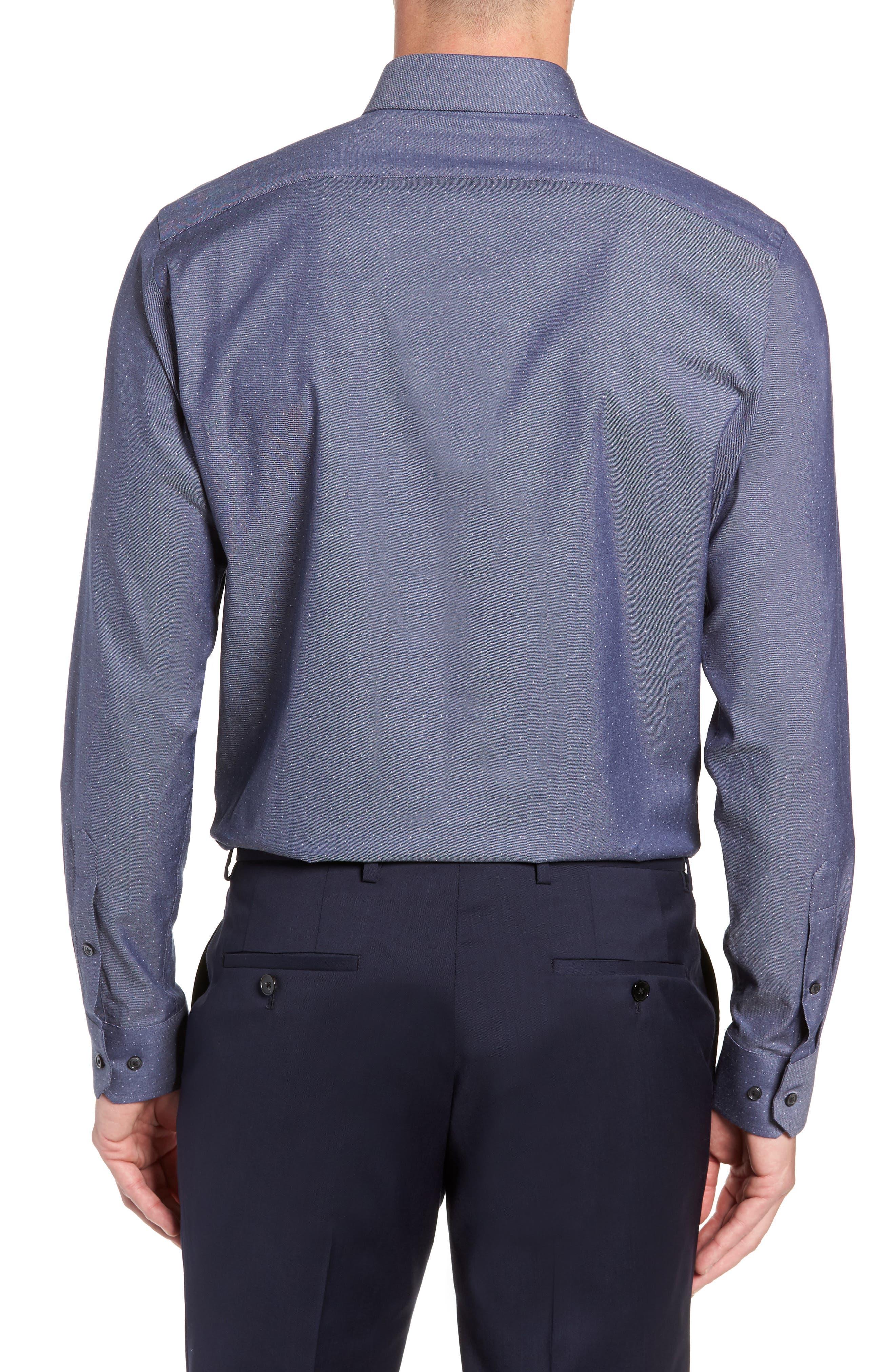 CALIBRATE, Trim Fit Stretch Dot Dress Shirt, Alternate thumbnail 3, color, NAVY PEACOAT