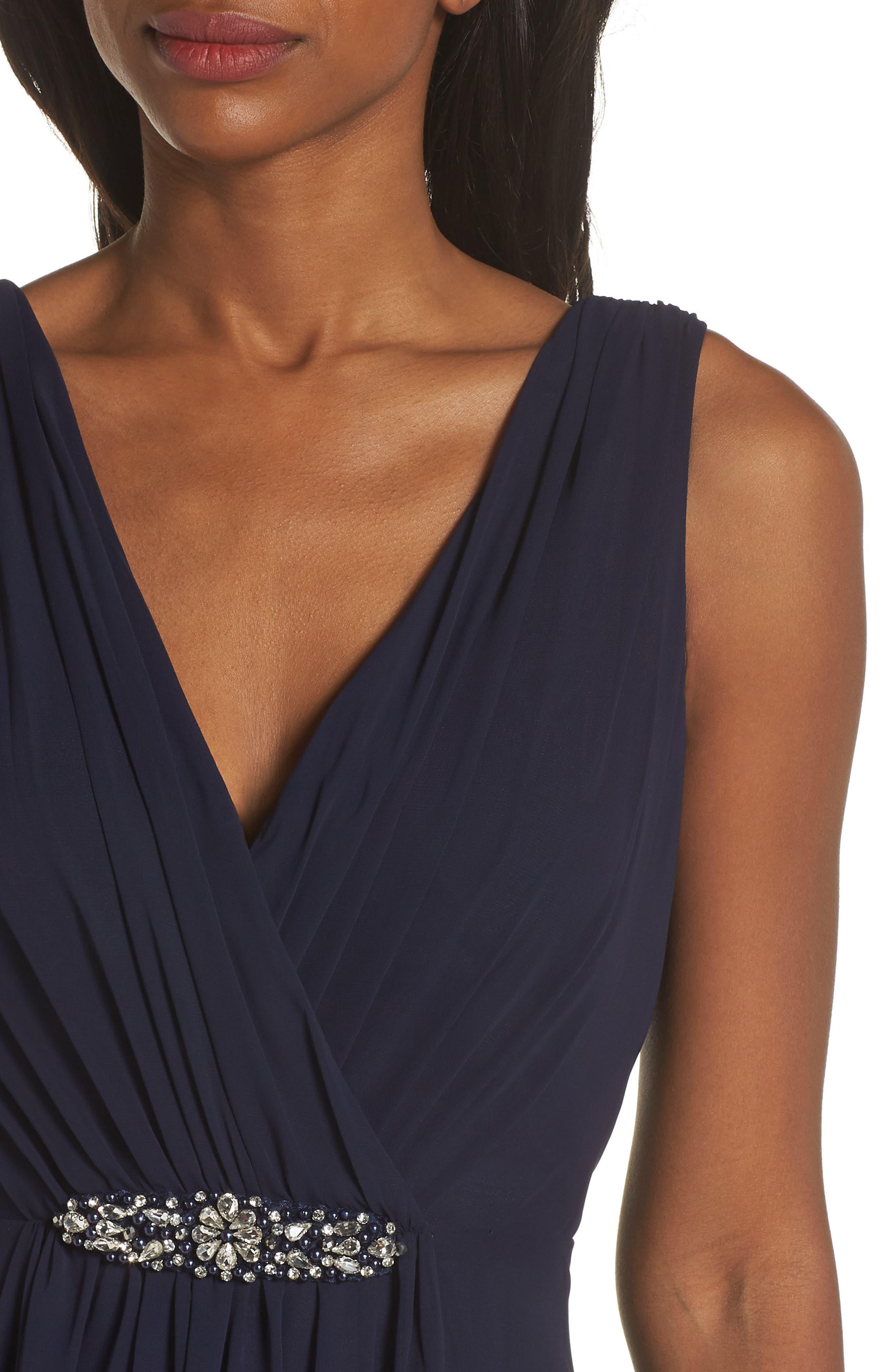 ELIZA J, Wrap Look High/Low Chiffon Dress, Alternate thumbnail 5, color, NAVY