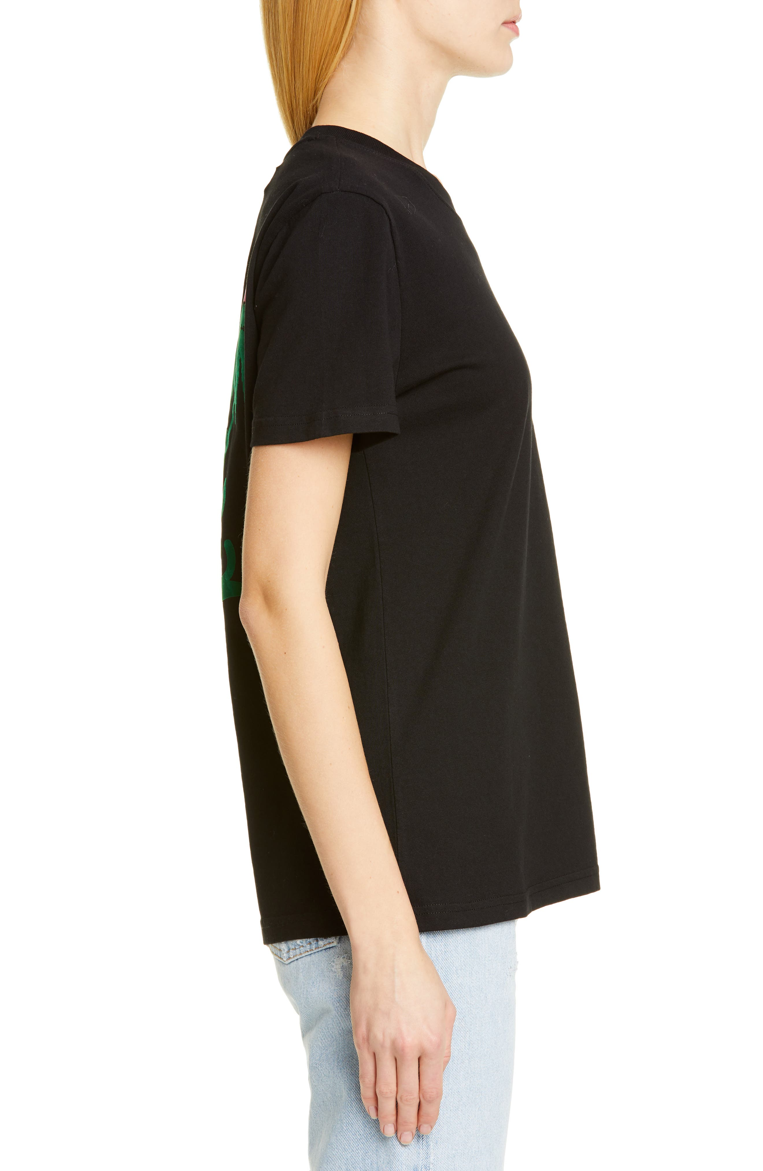 OFF-WHITE, Island Print Tee, Alternate thumbnail 3, color, BLACK GREEN