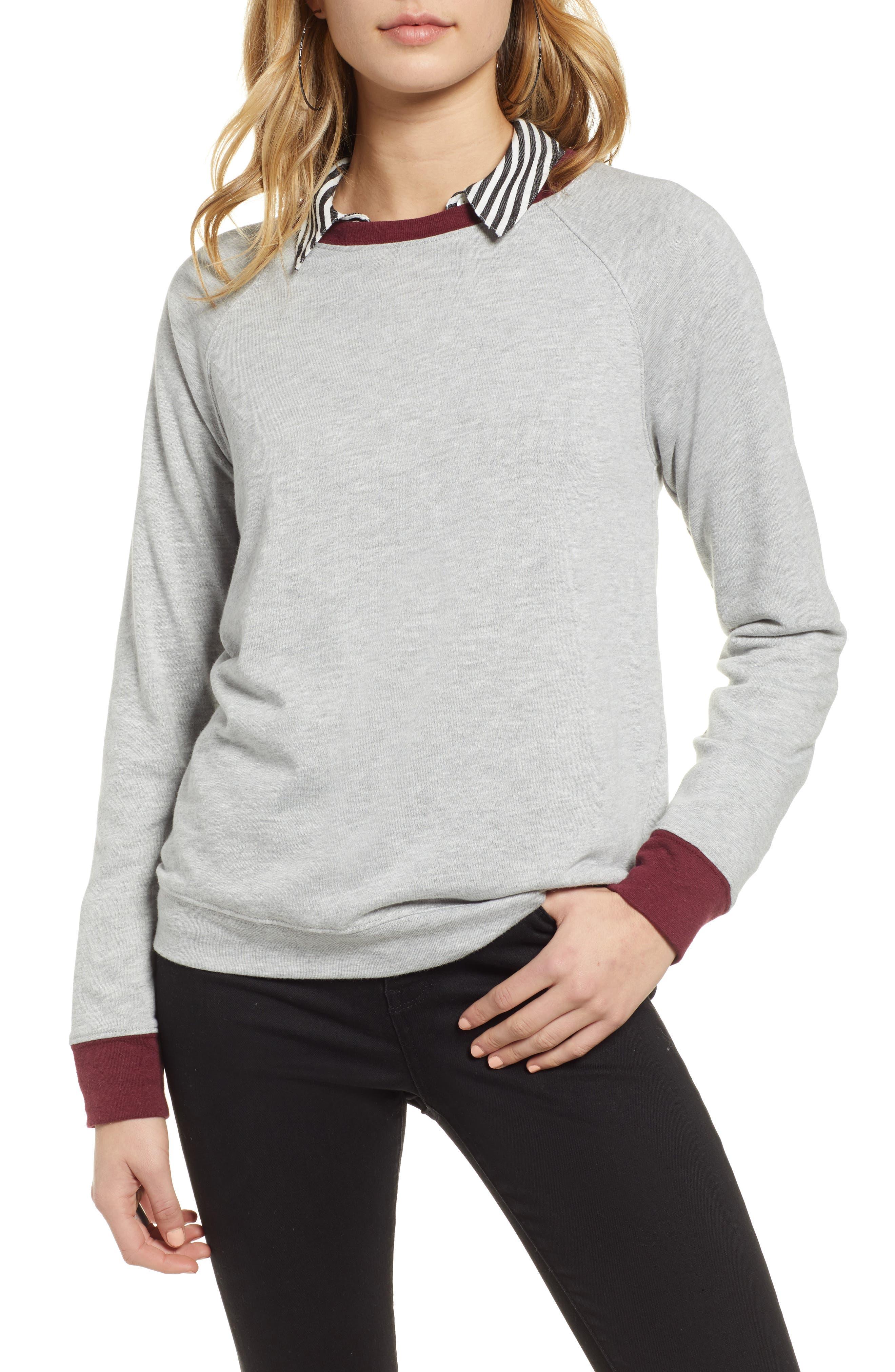 TREASURE & BOND, Crewneck Sweatshirt, Main thumbnail 1, color, GREY HEATHER- RED TANNIN COMBO