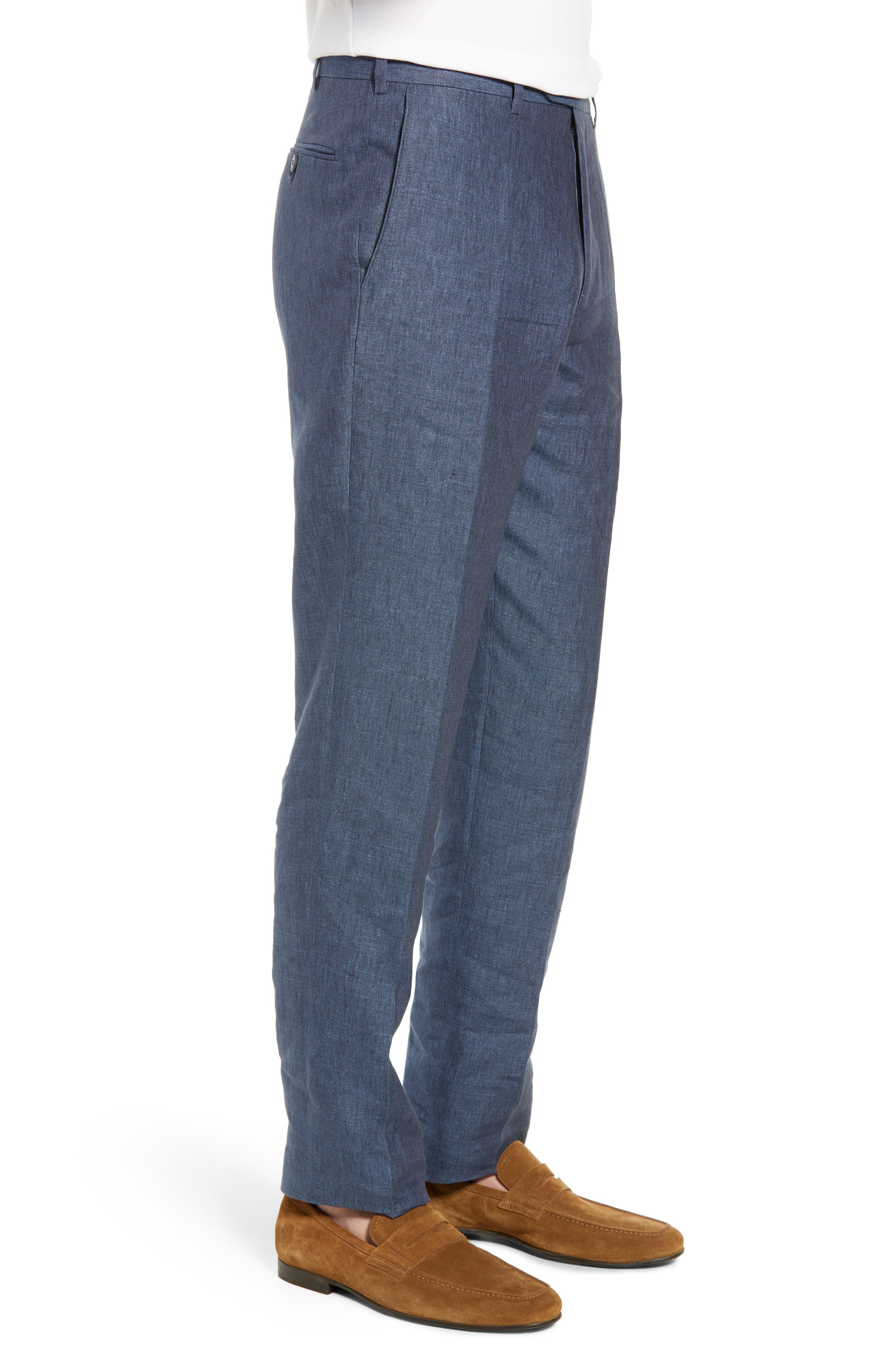 JOHN W. NORDSTROM<SUP>®</SUP>, Torino Flat Front Solid Linen Trousers, Alternate thumbnail 3, color, 420