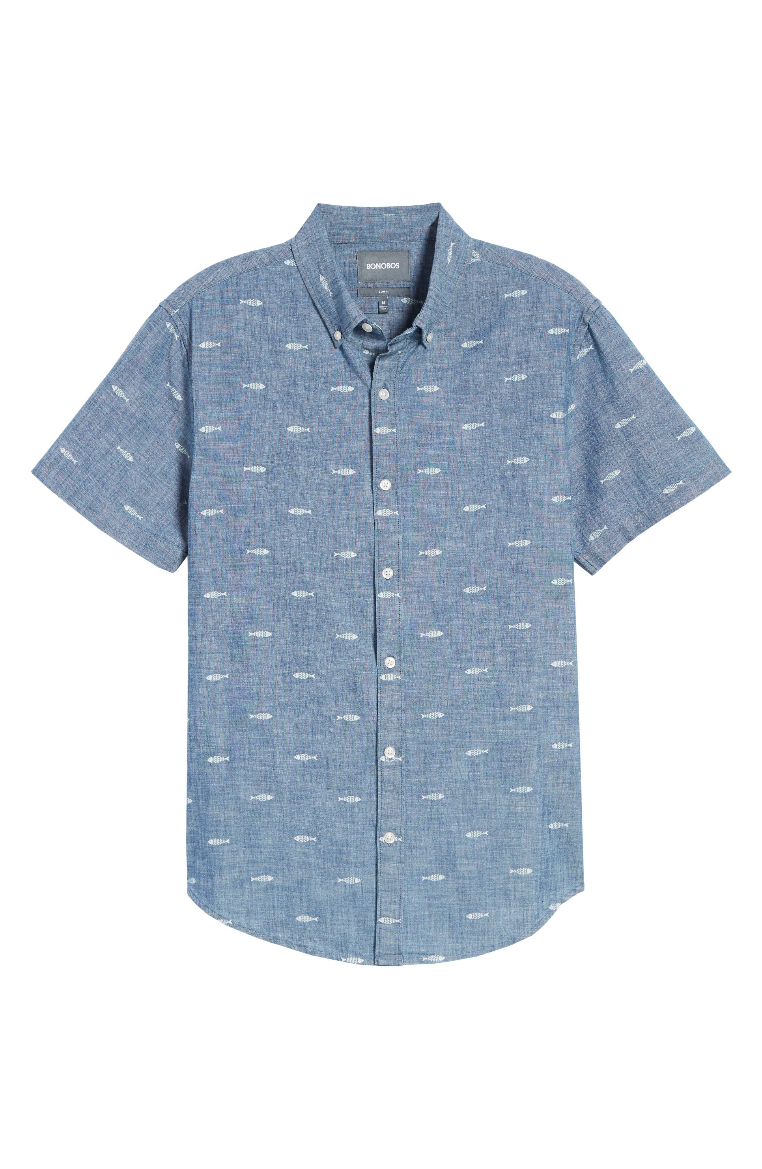 BONOBOS, Riviera Slim Fit Print Sport Shirt, Alternate thumbnail 5, color, CHAMBRAY SARDEEN SCATTER