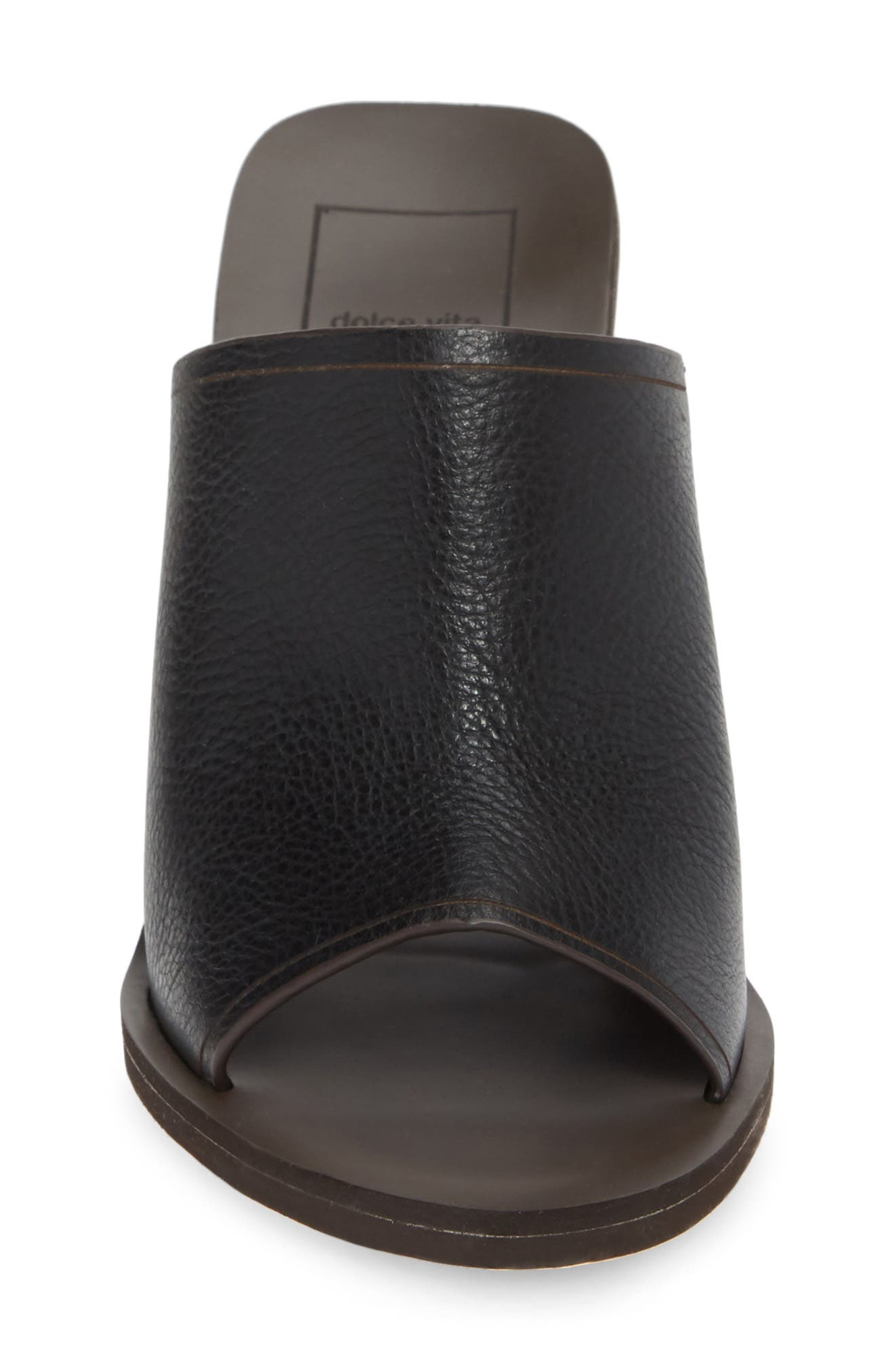 DOLCE VITA, Alba Braided Heel Mule Sandal, Alternate thumbnail 4, color, BLACK LEATHER