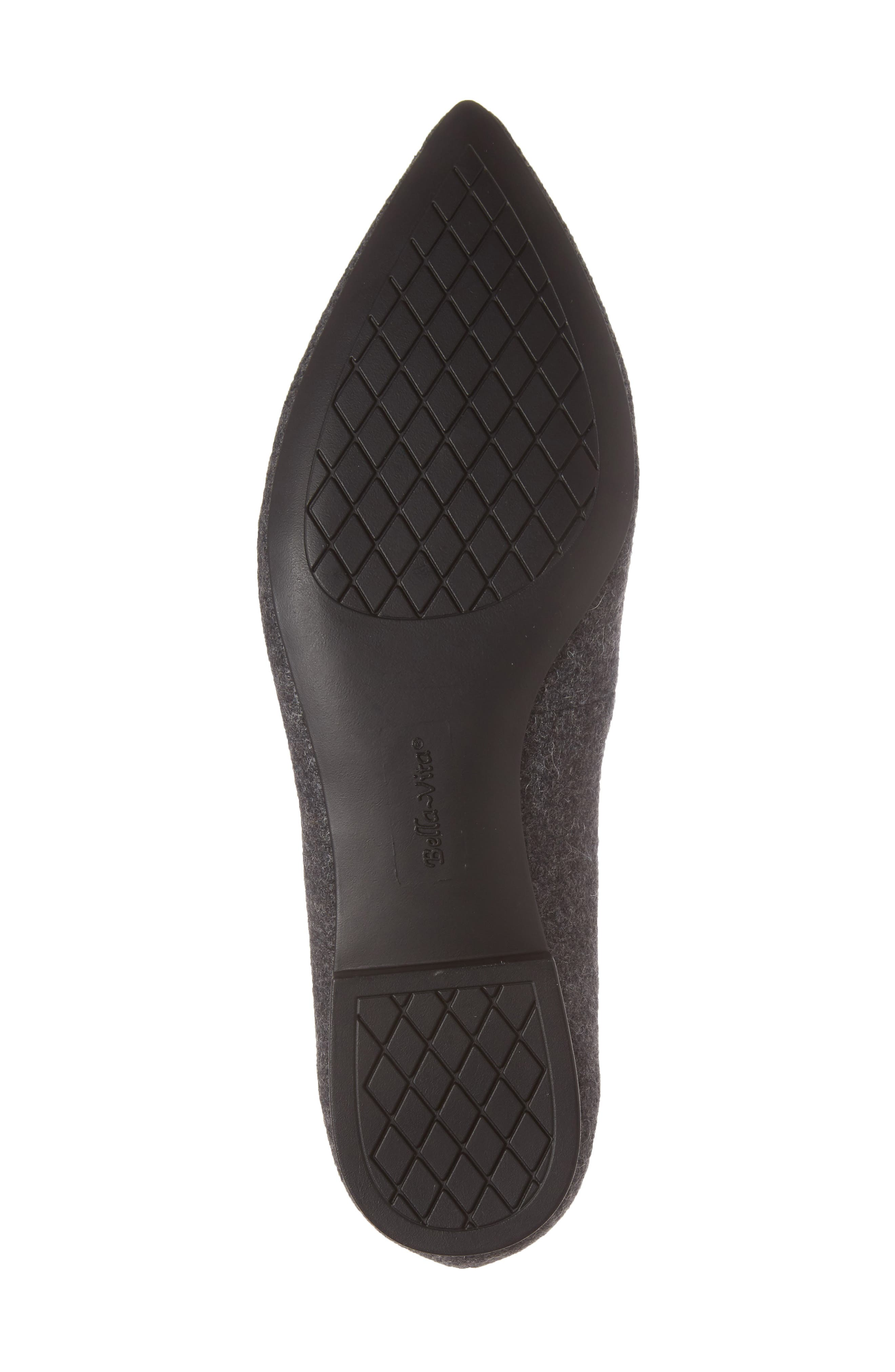 BELLA VITA, 'Vivien' Pointy Toe Flat, Alternate thumbnail 6, color, GREY FLANNEL FABRIC