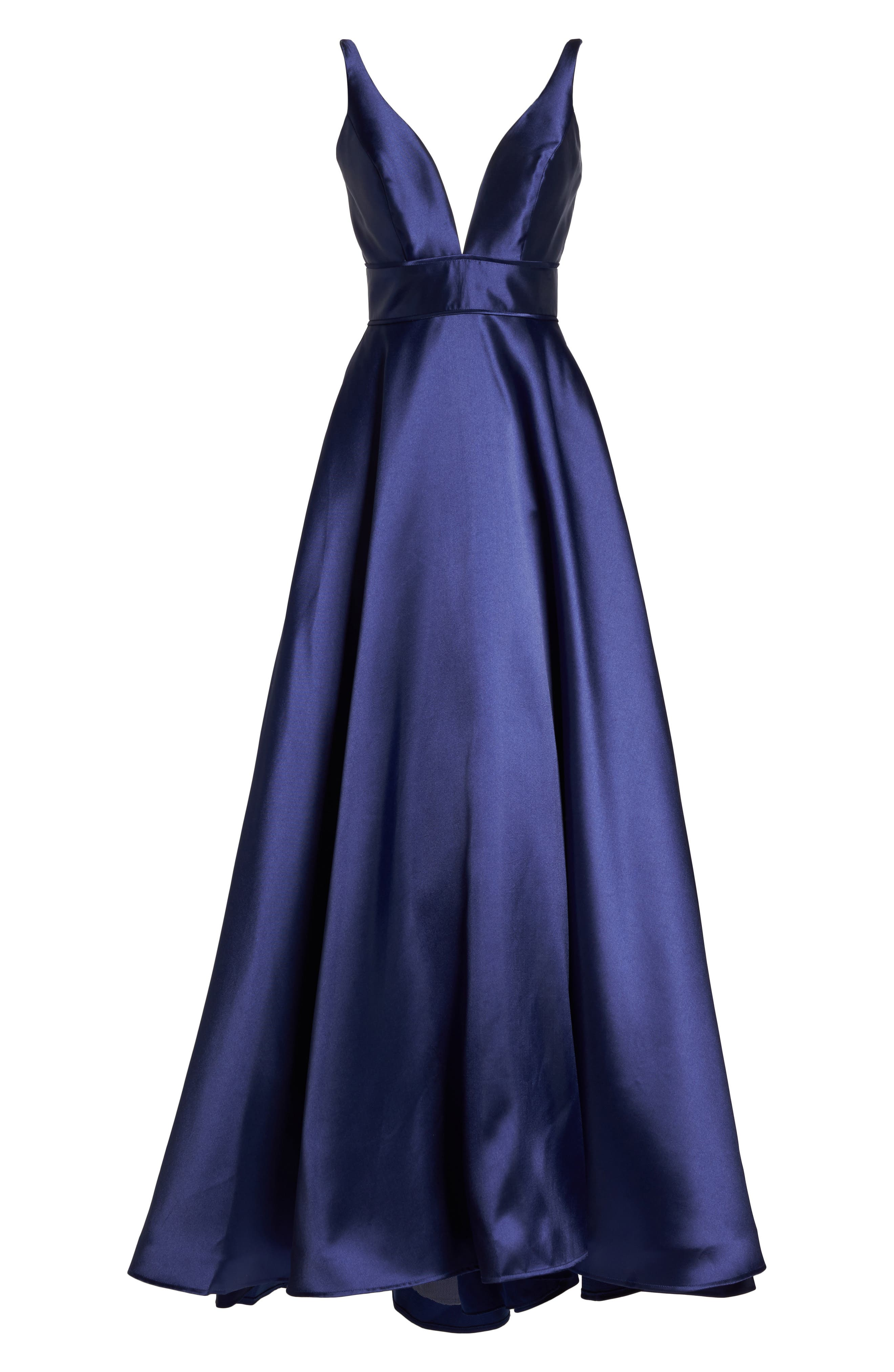 IEENA FOR MAC DUGGAL, Plunging Sweetheart Neck Ballgown, Alternate thumbnail 6, color, NAVY